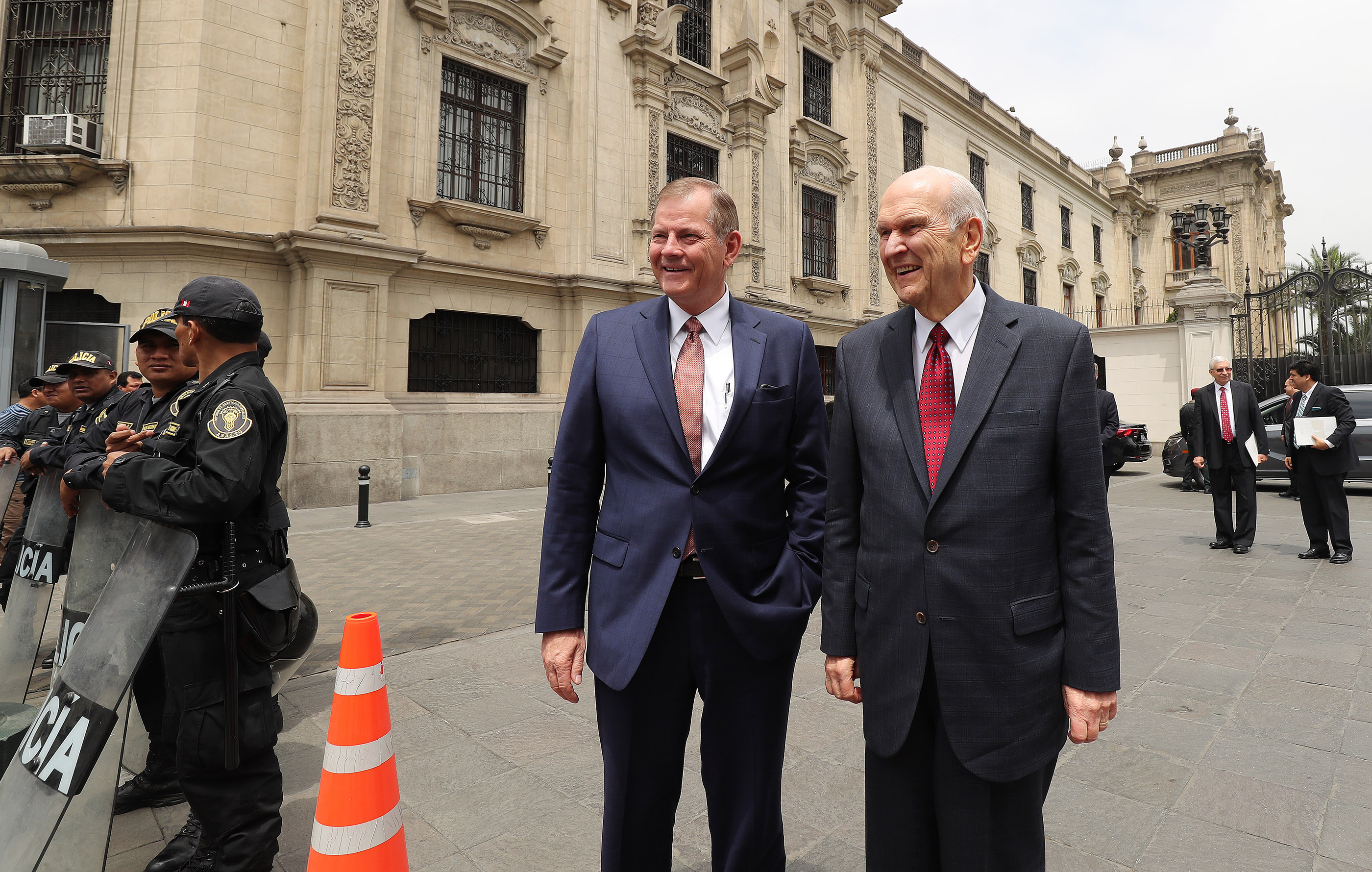 President Russell M. Nelson of The Church of Jesus Christ of Latter-day Saints, right, and Elder Gary E. Stevenson of the Quorum of the Twelve Apostles arrive at the Government Palace to speak with the president of Peru in Lima, Peru, on Oct. 20, 2018.