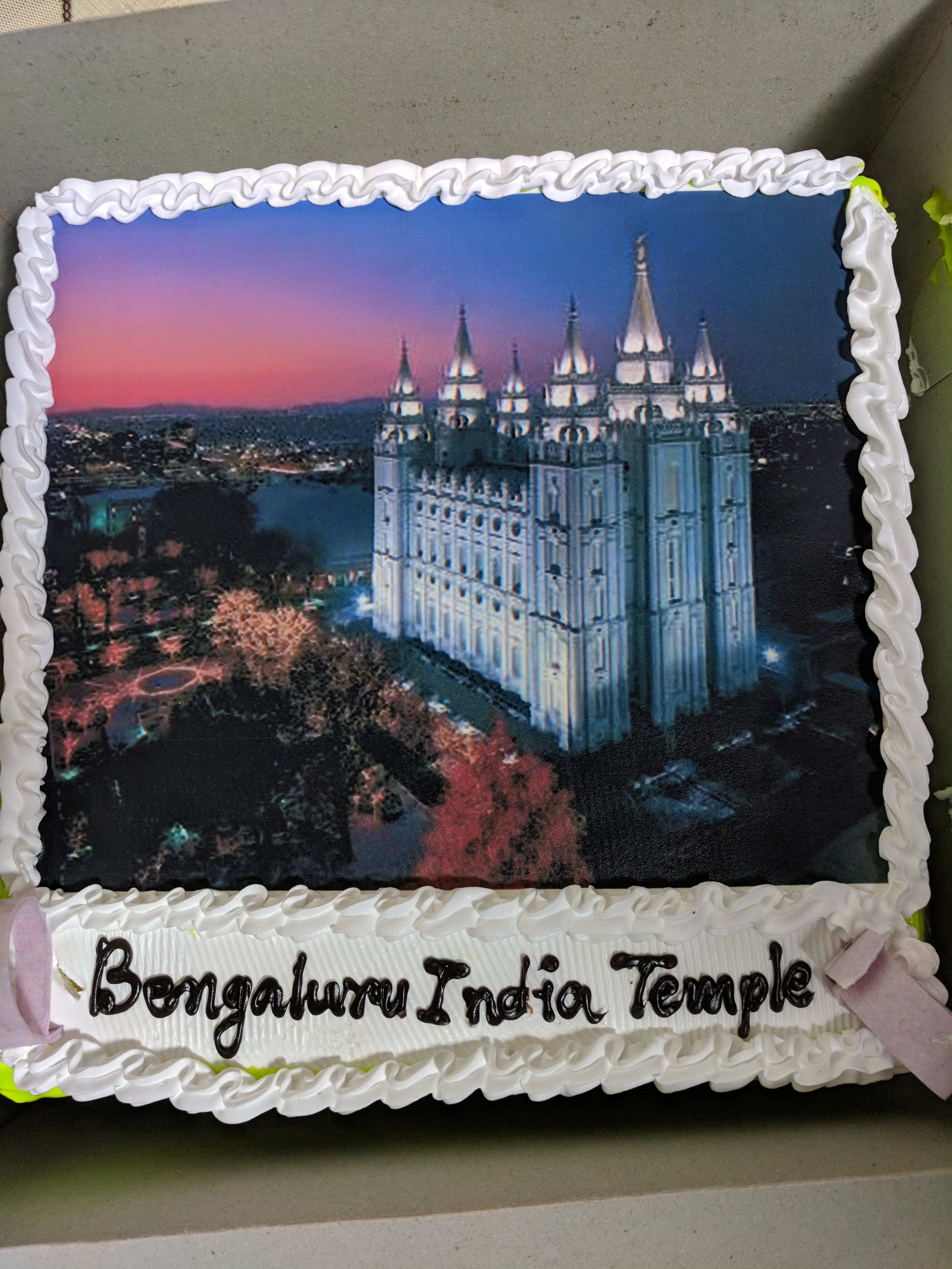 President Bob Anthony, a counselor in the stake presidency in Bengaluru purchased two cakes with pictures of the temple to celebrate the announcement of a temple in India.