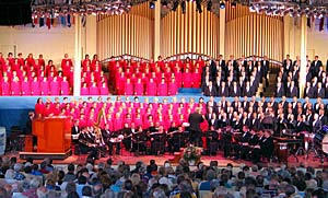The Tabernacle Choir and Orchestra at Temple Square perform at matinee concert June 28 at Chautauqua Institution in western New York.