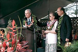 Elder M. Russell Ballard, left, congratulates BYU-Hawaii Pres. Eric B. Shumway and wife, Carolyn.