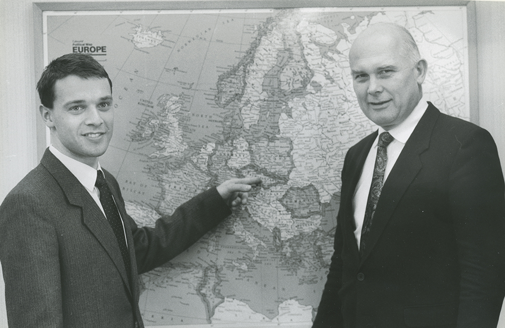 Elder Dallin H. Oaks discusses progress of Church in Czechoslovakia with Elder Martin Pilka, Czechoslovakia's first missionary in recent times. March 16, 1991.