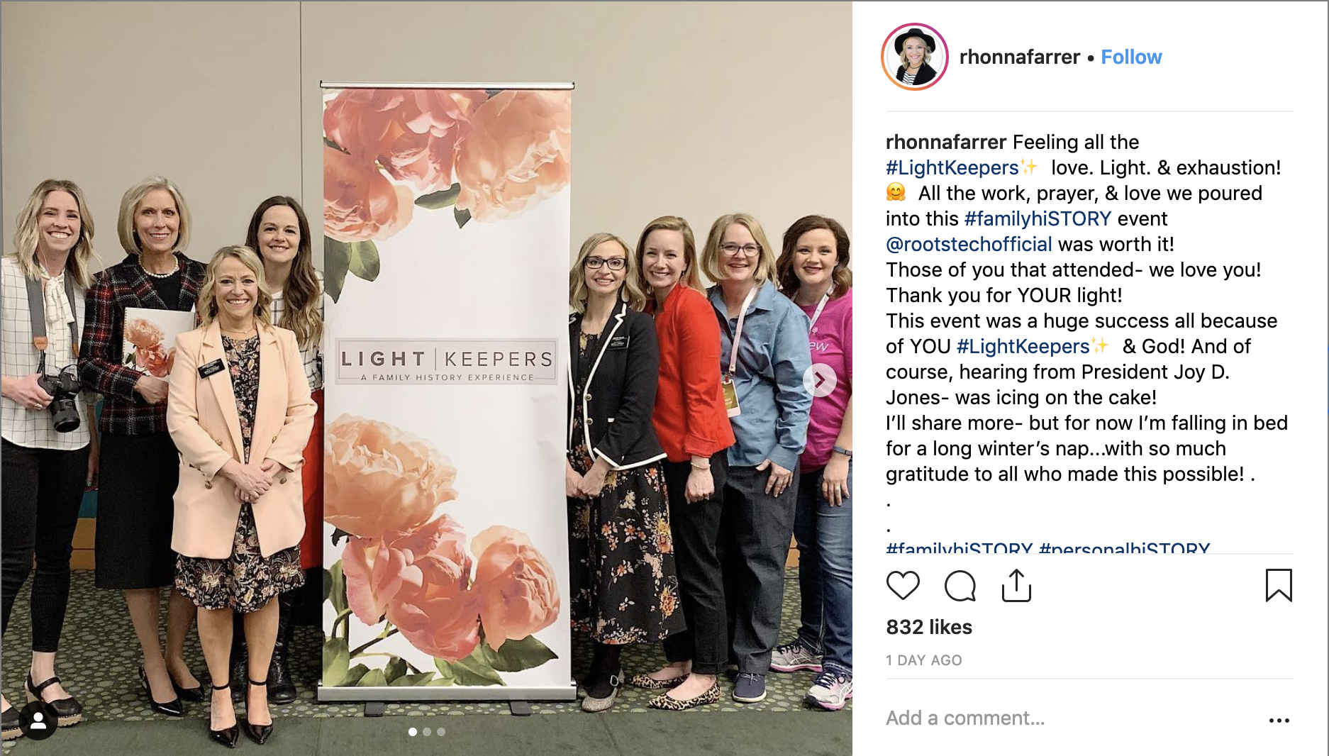 Sister Rhonna Farrer posted to Instagram following the Light Keepers workshop and RootsTech and thanked all those who participated in the event.