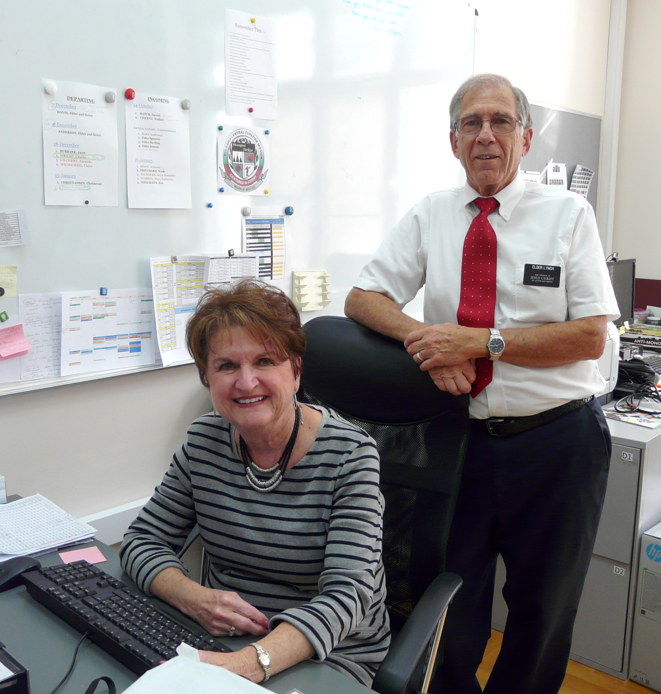 Sister Jan Lynch and Elder Morgan Lynch feel their best work in supporting the mission is in the office. They serve in Sofia, Bulgaria.