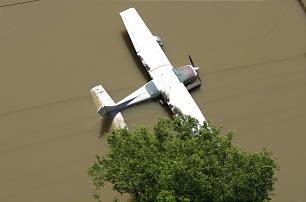 An airplane is partially submerged in Nashville, Tenn.