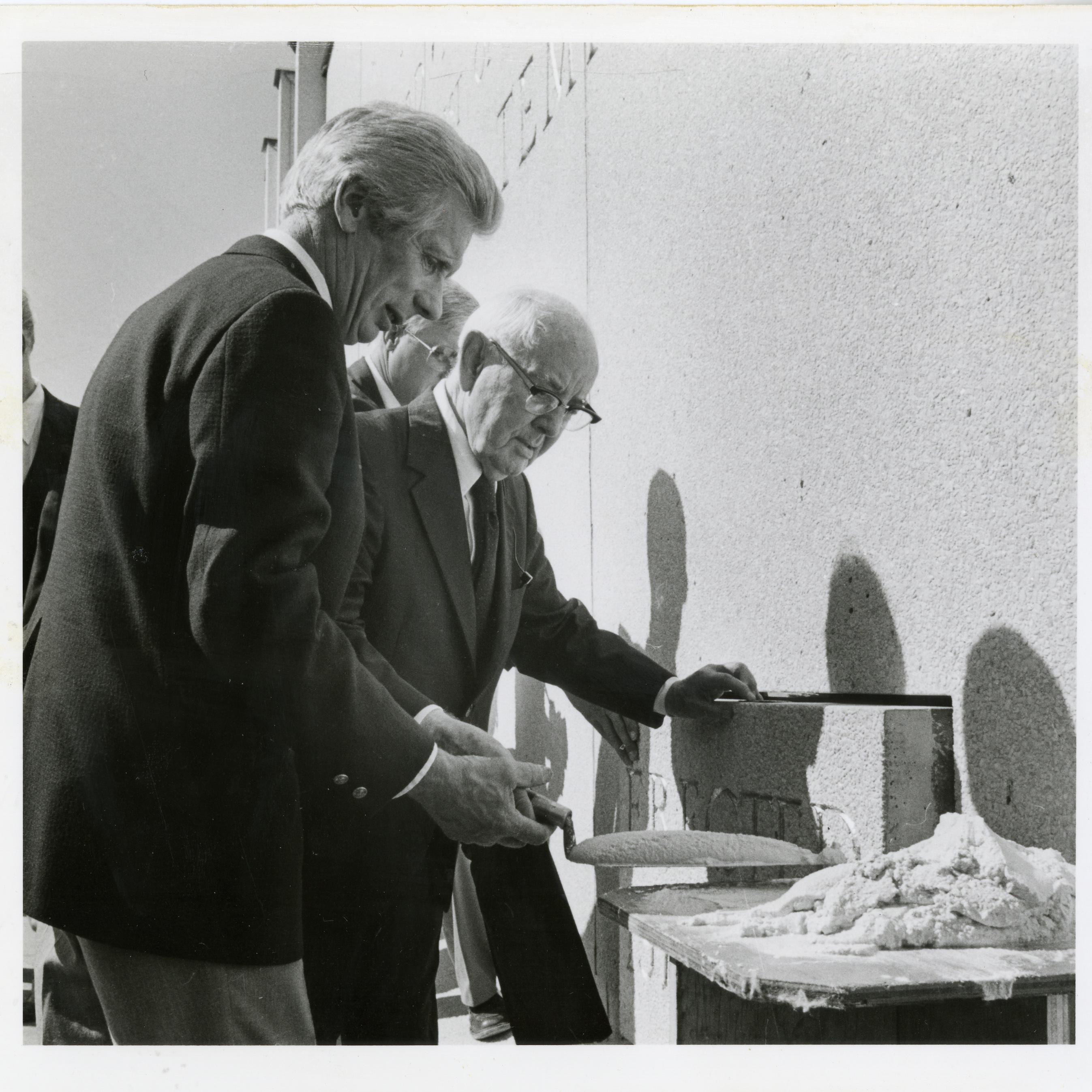 Church President Spencer W. Kimball, seals the cornerstone prior to dedicating the Jordan River Utah Temple in 1981.
