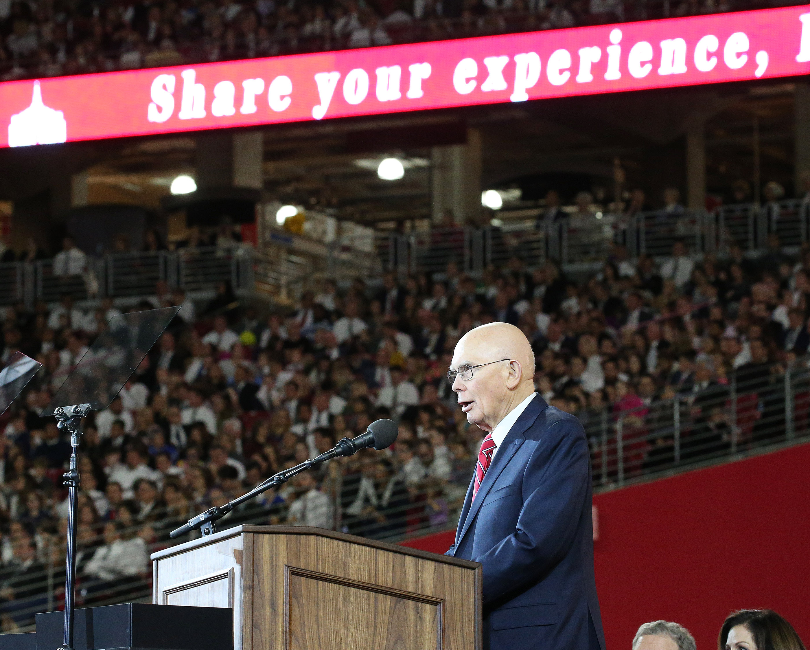 President Dallin H. Oaks, first counselor in the First Presidency of The Church of Jesus Christ of Latter-day Saints speaks during a devotional at the State Farm Stadium in Phoenix on Sunday, Feb. 10, 2019.