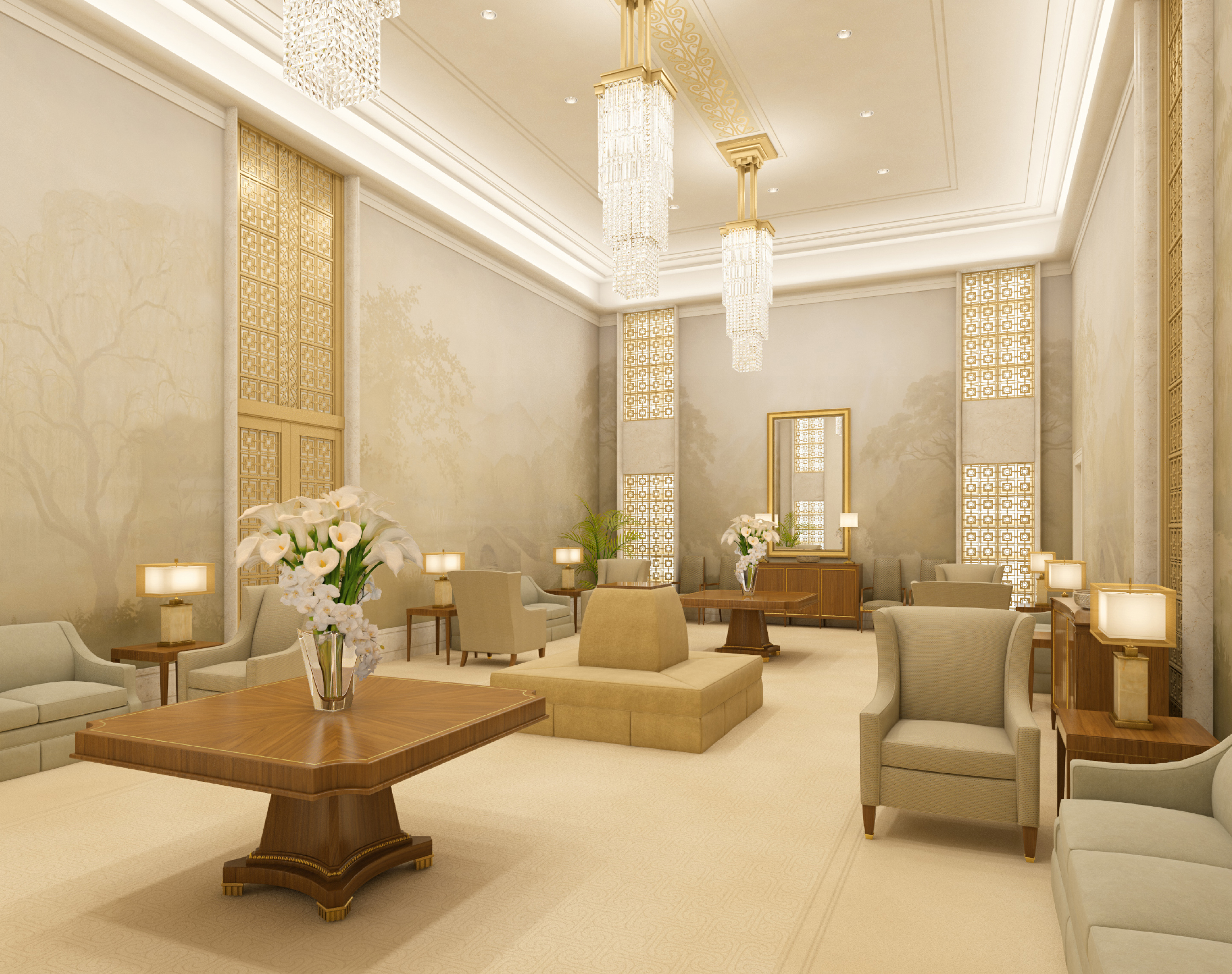 Rendering of Celestial Room in the Hamilton New Zealand Temple.