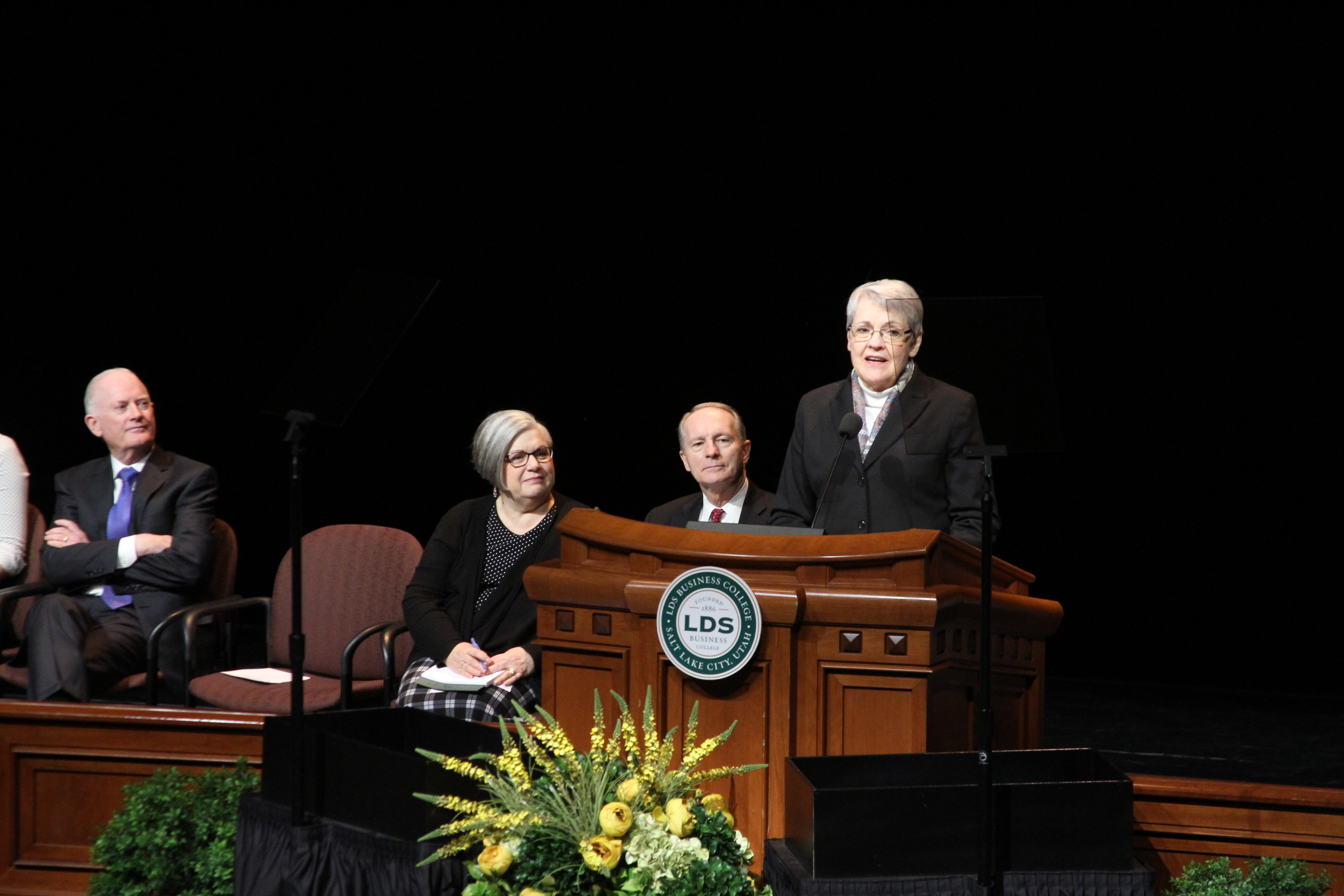 Sister Sue Clark speaks during her LDS Business College devotional address in the Conference Center Theater on Feb. 19, 2019.