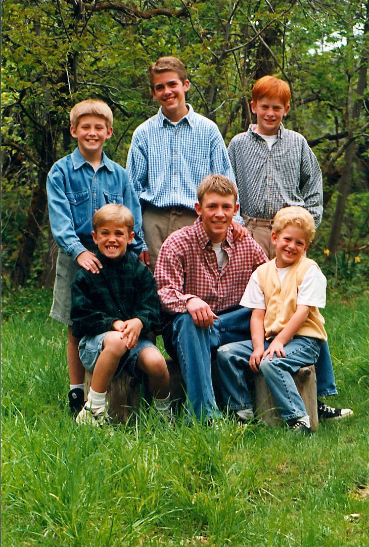 The six Featherstone sons. From top left: Sam, Joseph, Zach. Bottom left: Nate, Jake, Ben.