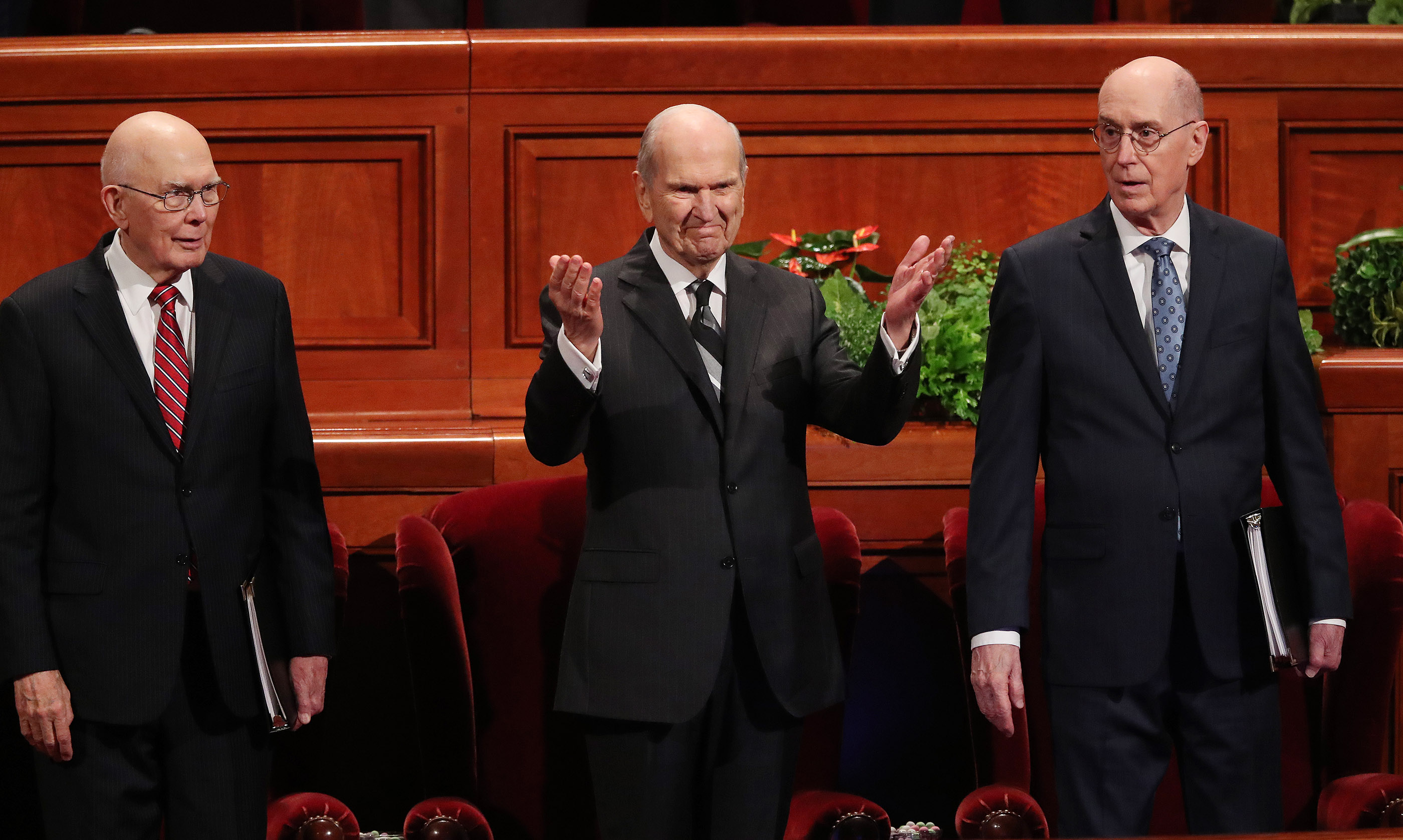 President Russell M. Nelson of The Church of Jesus Christ of Latter-day Saints, center, and his counselors, President Dallin H. Oaks, first counselor, left, and President Henry B. Eyring, second counselor, right, enter the Conference Center in Salt Lake City for the Saturday morning session of the 188th Semiannual General Conference of The Church of Jesus Christ of Latter-day Saints in Salt Lake City on Saturday, Oct. 6, 2018.