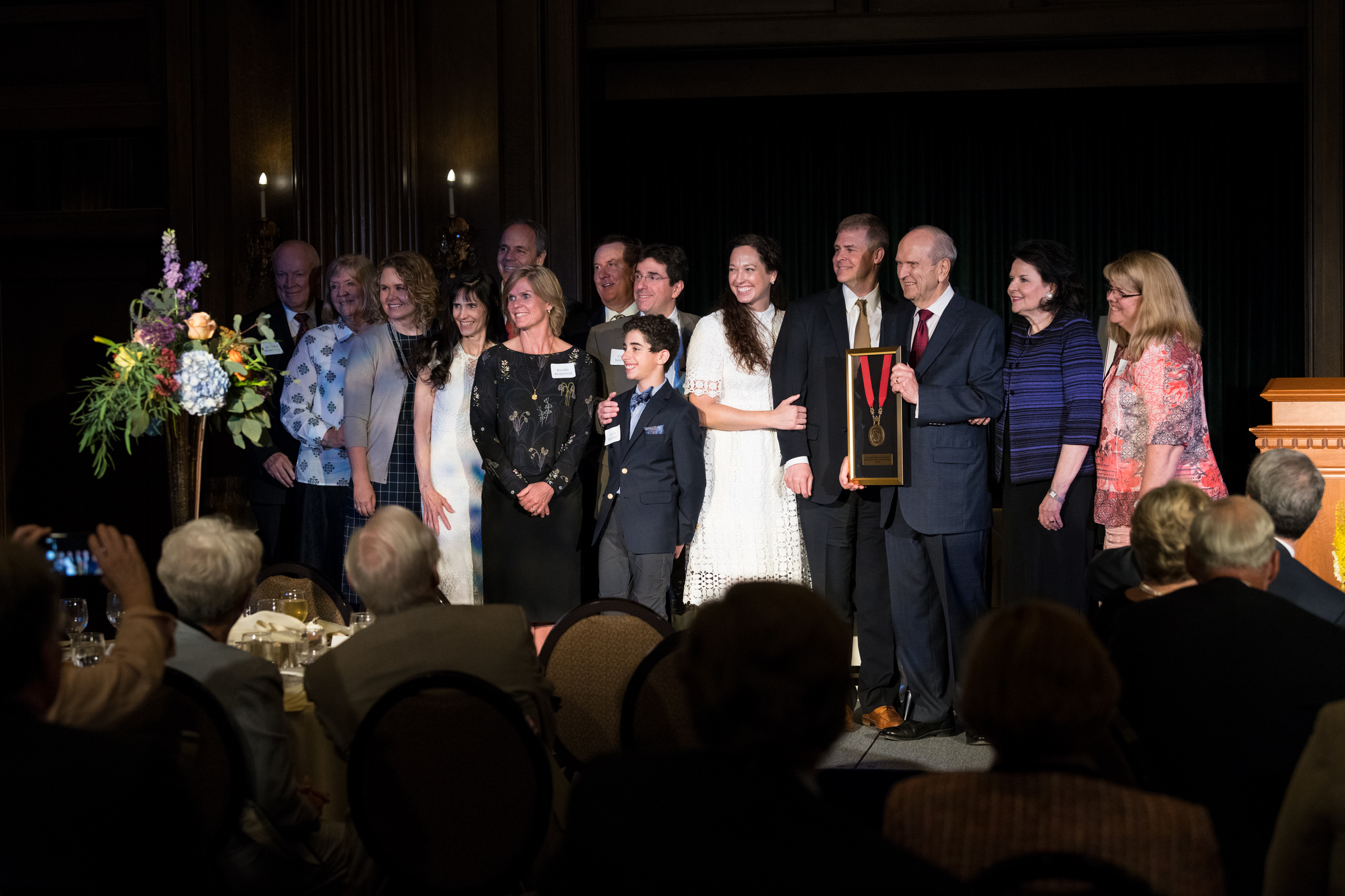 President Russell M. Nelson poses for a photo with his wife, Wendy, and members of his family and Dr. Craig H. Selzman after the University of Utah School of Medicine announced the Dr. Russell M. Nelson and Dantzel W. Nelson Presidential Endowed Chair in Cardiothoracic Surgery and awarded the chair to Selzman at a dinner on Temple Square on Friday, June 15, 2018. Dantzel is President Nelson's first wife who contributed greatly to her husband's medical career.