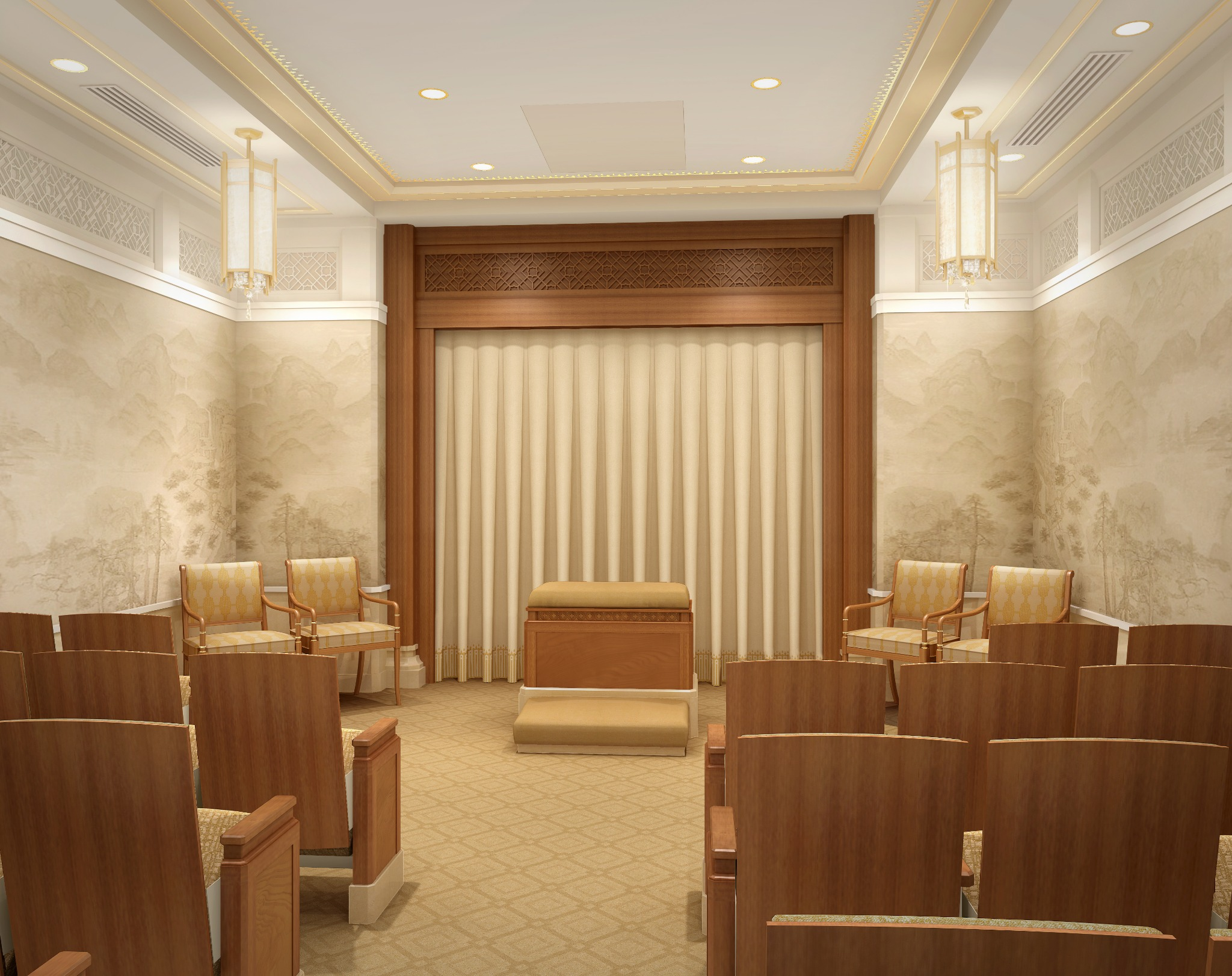 Rendering of an instruction room in the Hong Kong China Temple.