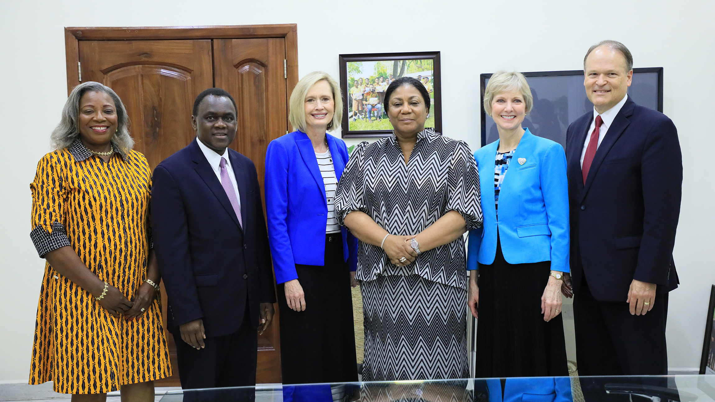 Leaders from The Church of Jesus Christ of Latter-day Saints visit Rebecca Naa Okaikor Akufo-Addo (center), the first lady of the Republic of Ghana, at North Ridge in Accra, Friday, March 1, 2019.