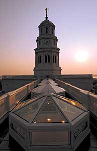 The Nauvoo LDS temple from the roof June 23nd, 2002. Allred/photo Can someone spot the sky on the big screen please? (Submission date: 06/23/2002)
