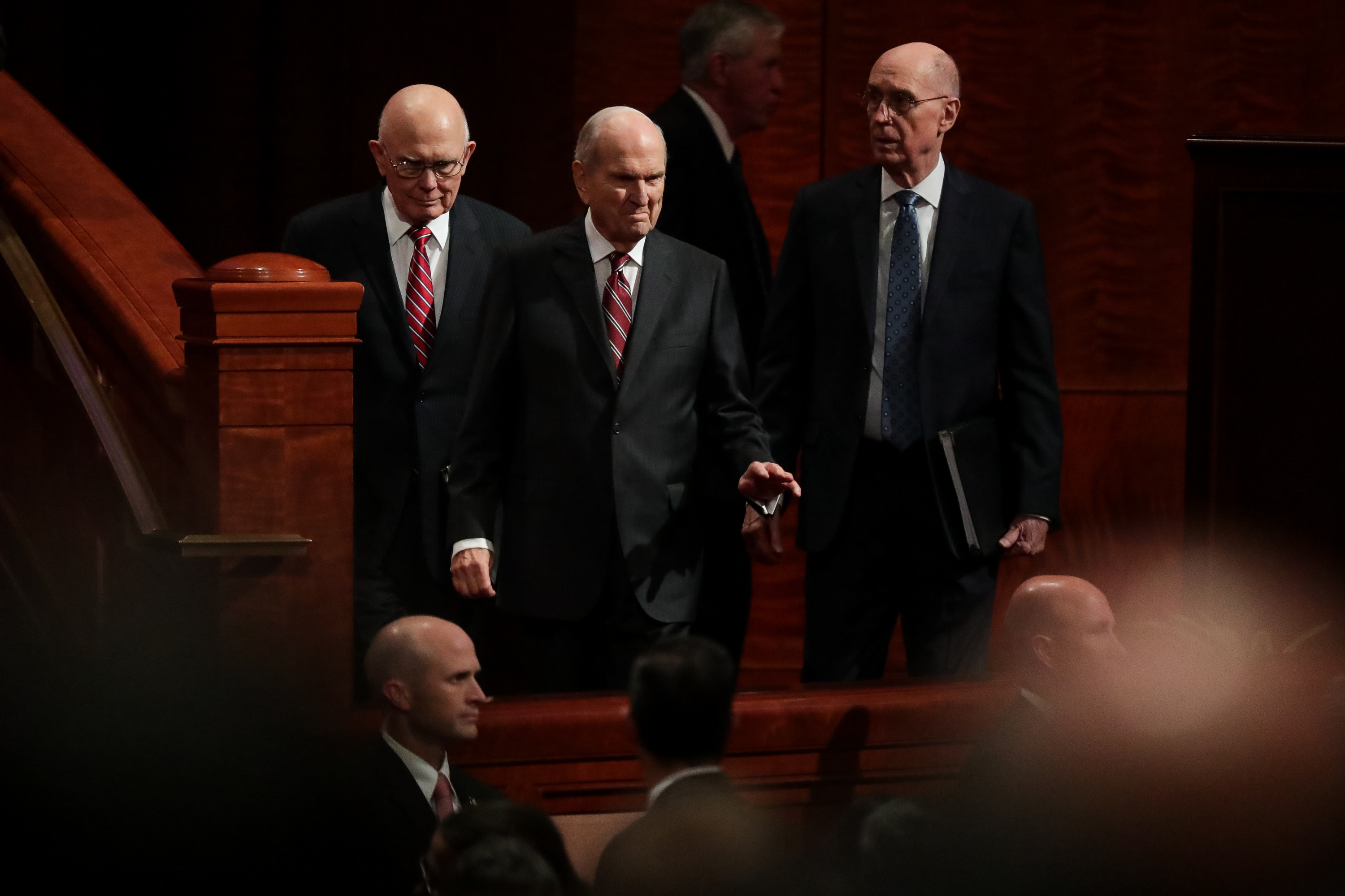President Russell M. Nelson, center, President Dallin H. Oaks, first counselor in the First Presidency, left, and President Henry B. Eyring, second counselor in the First Presidency, right, arrive for the Saturday afternoon session of the 188th Semiannual General Conference of The Church of Jesus Christ of Latter-day Saints at the Conference Center in Salt Lake City on Saturday, Oct. 6, 2018.