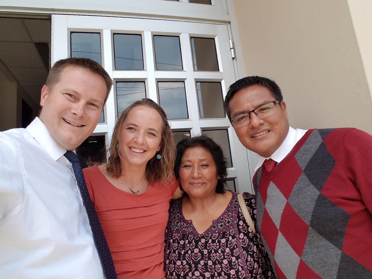 Peter Wirthlin and his wife, left, with a woman he converted some 20 years ago in Tupiza, Bolivia and one of her sons outside of the Petrolero Ward in Cochabamba.