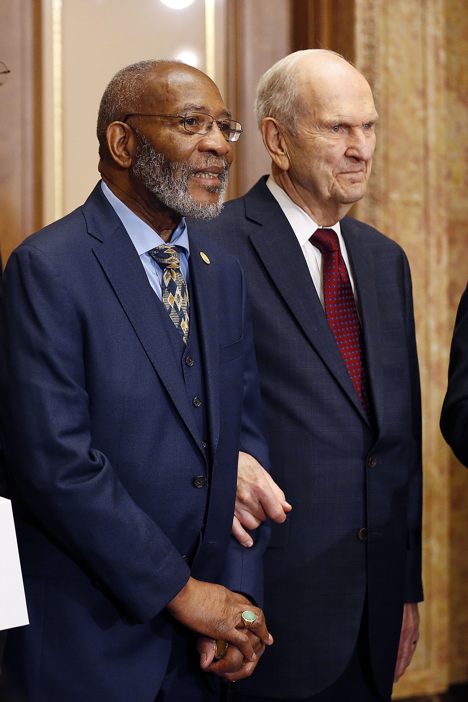 President Russell M. Nelson of The Church of Jesus Christ of Latter-day Saints, right, stands with Rev. Amos C. Brown during a press conference in Salt Lake City on Thursday, May 17, 2018.