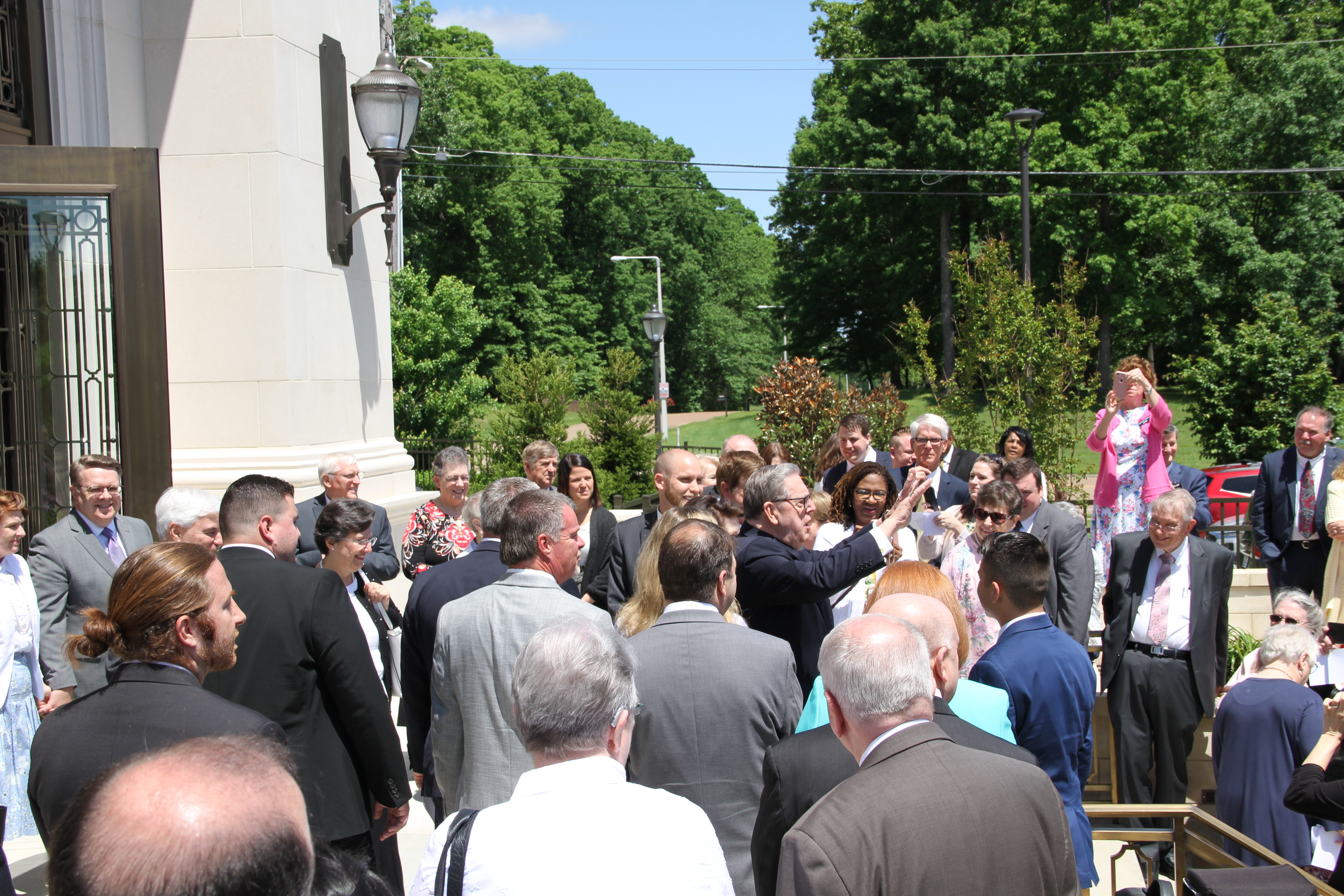 Elder Holland greets members following the Memphis Tennessee Temple rededication ceremony on May 5, 2019.