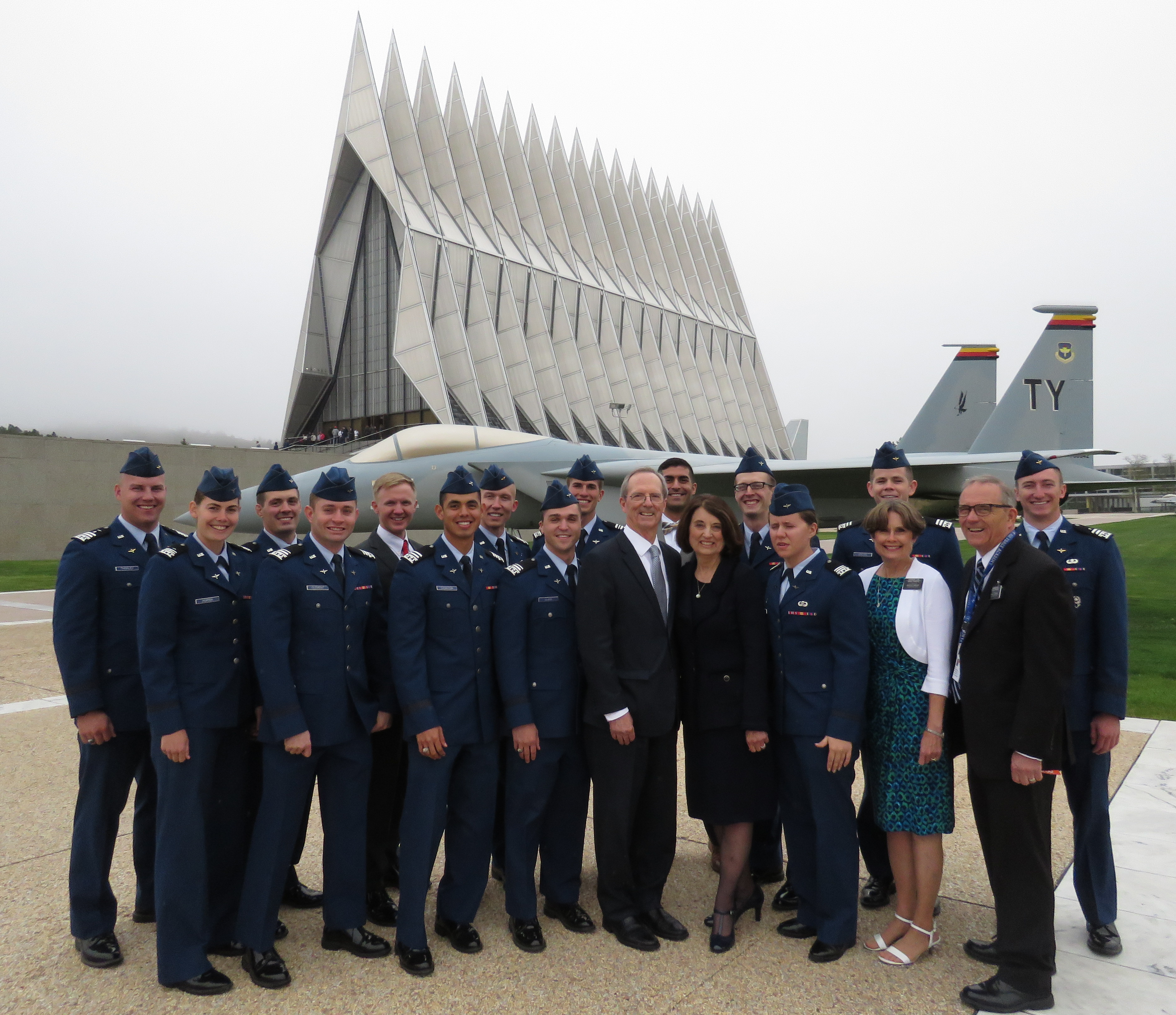 Graduating seniors stand with guest speaker, Brother Tad R. Callister and his wife, Sister Kathryn S. Callister, along with Brother and Sister Lee, before the 3rd annual Baccalaureate Service on USAFA.