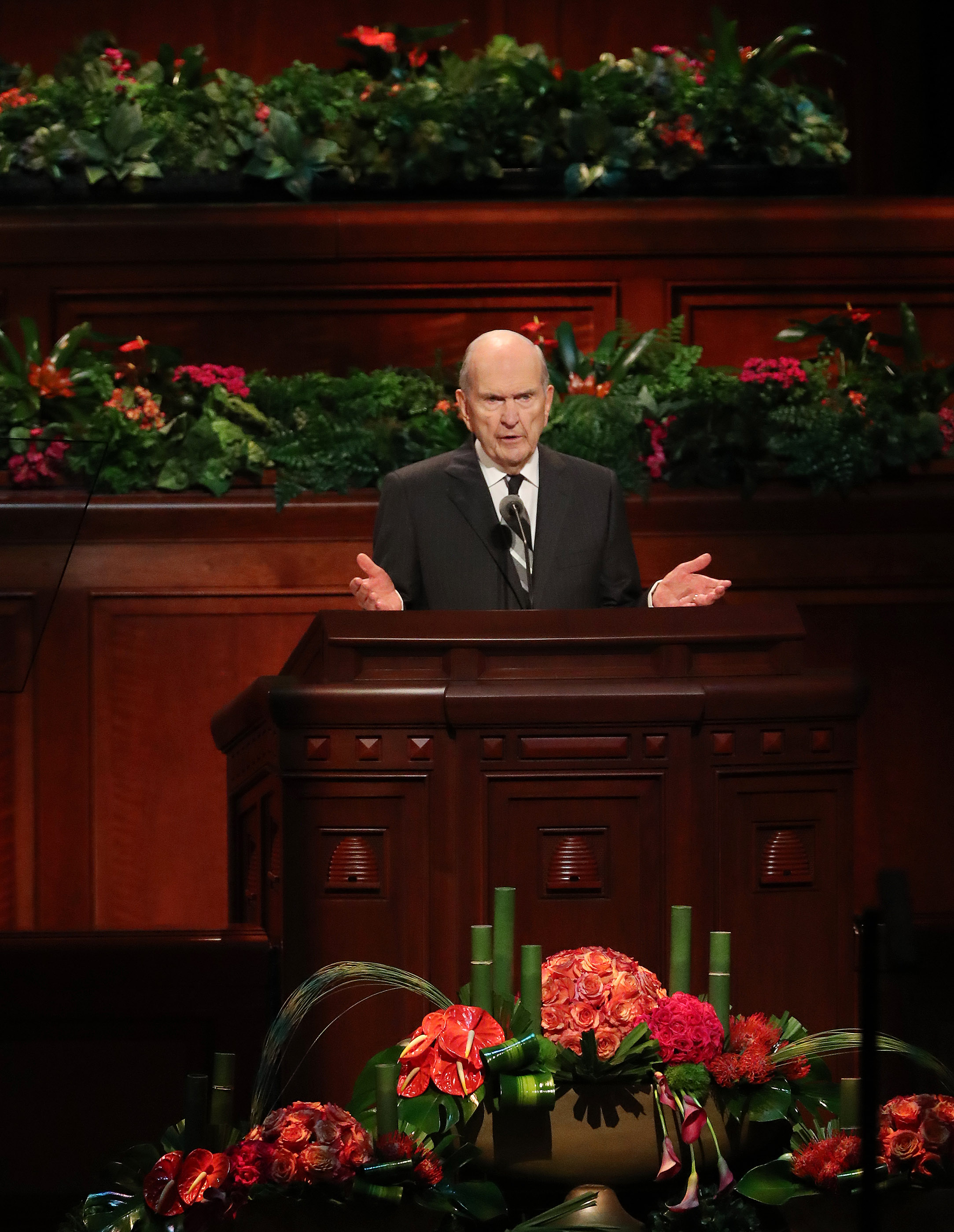 President Russell M. Nelson of The Church of Jesus Christ of Latter-day Saints speaks about changes during the 188th Semiannual General Conference of The Church of Jesus Christ of Latter-day Saints in the Conference Center in Salt Lake City on Saturday, Oct. 6, 2018.