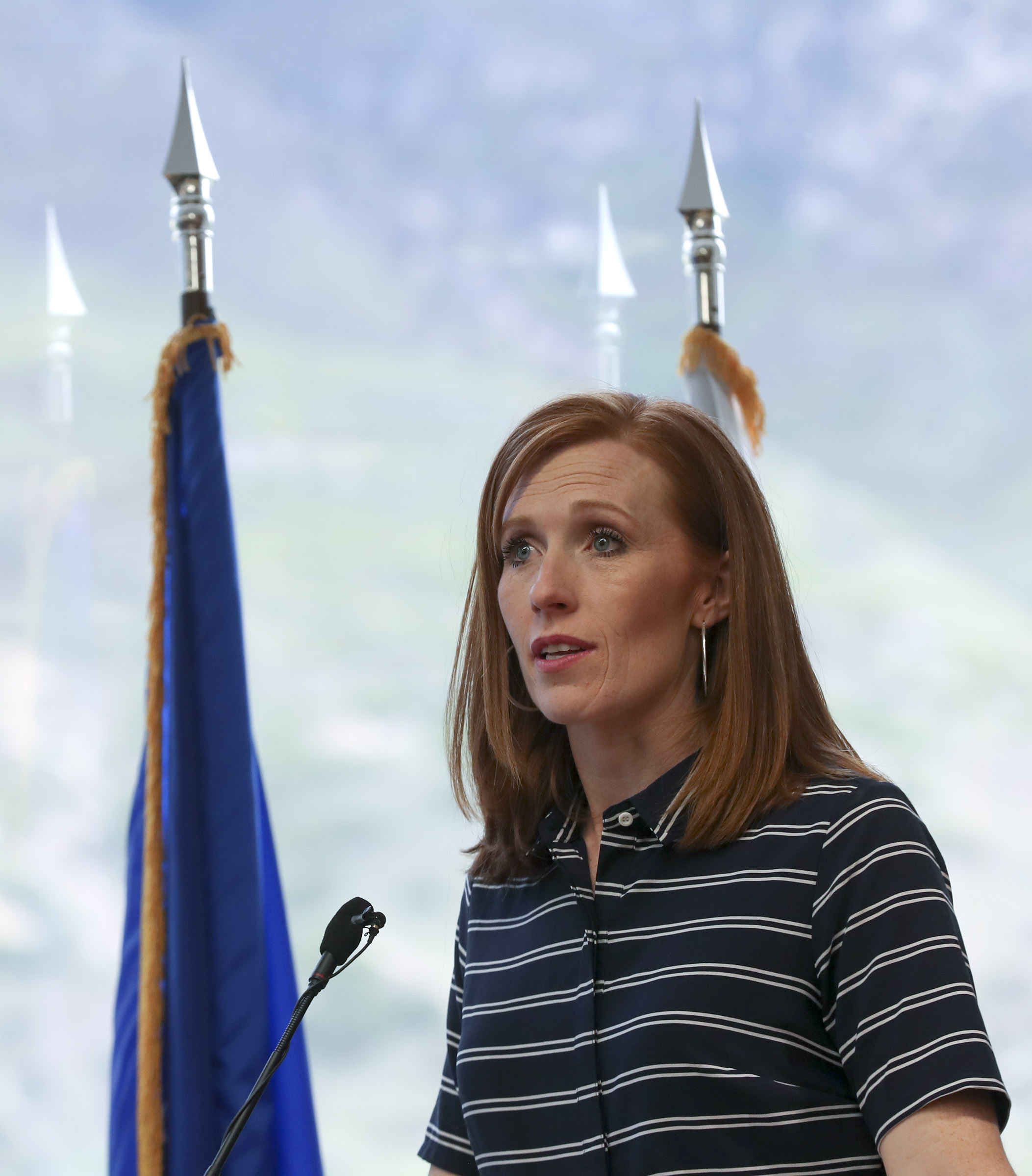 Jennie Taylor talks about her husband, Maj. Brent Taylor, who was killed in Afghanistan in 2018, during a ceremony where Taylor's name was added to the Reflection Room Memorial Wall in the Wilkinson Center on the BYU campus in Provo on Thursday, May 23, 2019.