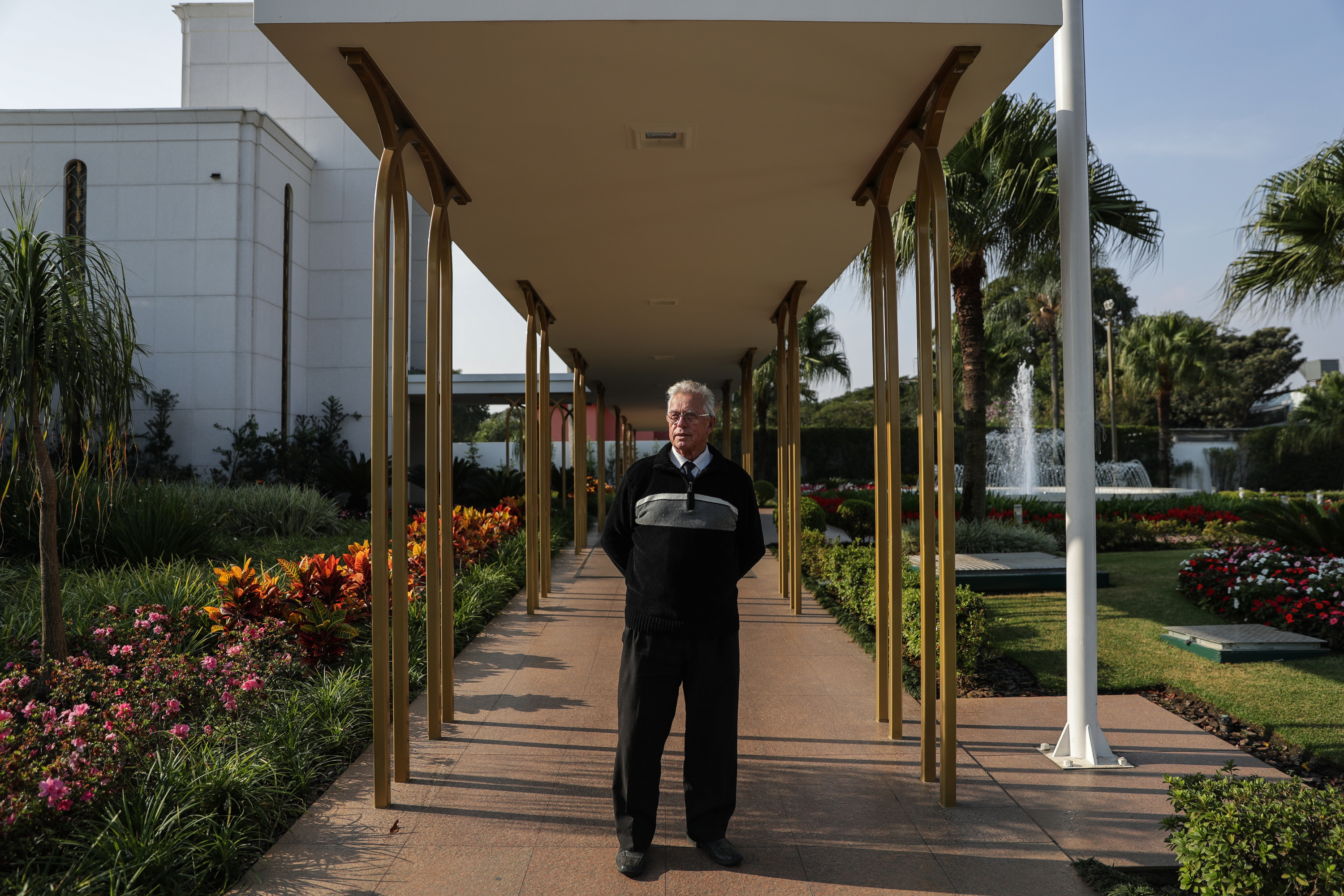 Luiz Pires de Godoy poses for a photograph outside the LDS Church's São Paulo Temple in São Paulo, Brazil on Wednesday, May 23, 2018.