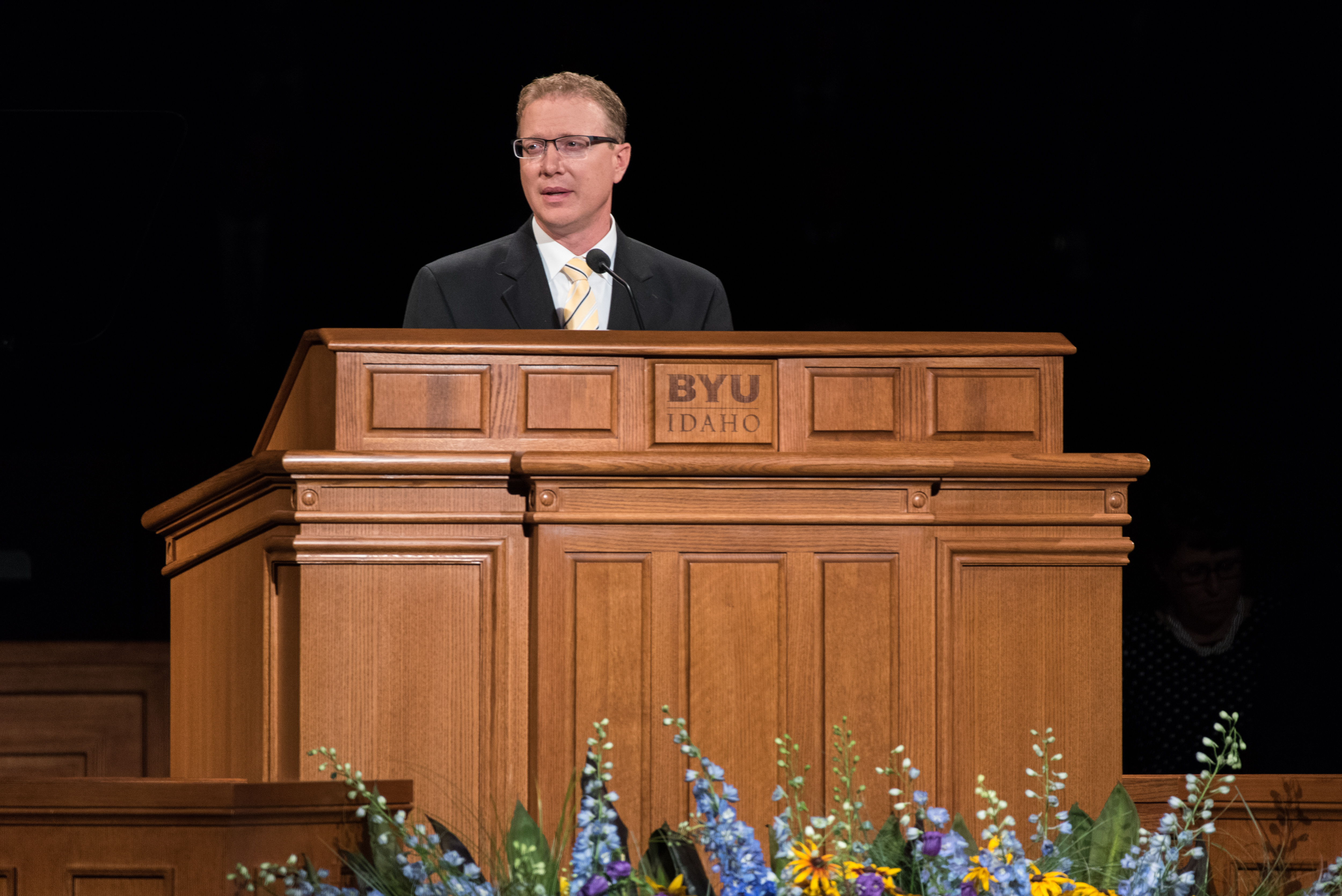 Nels Hansen, Applied Plant Science department chair speaks to students at the BYU-Idaho devotional on July 17, 2018.
