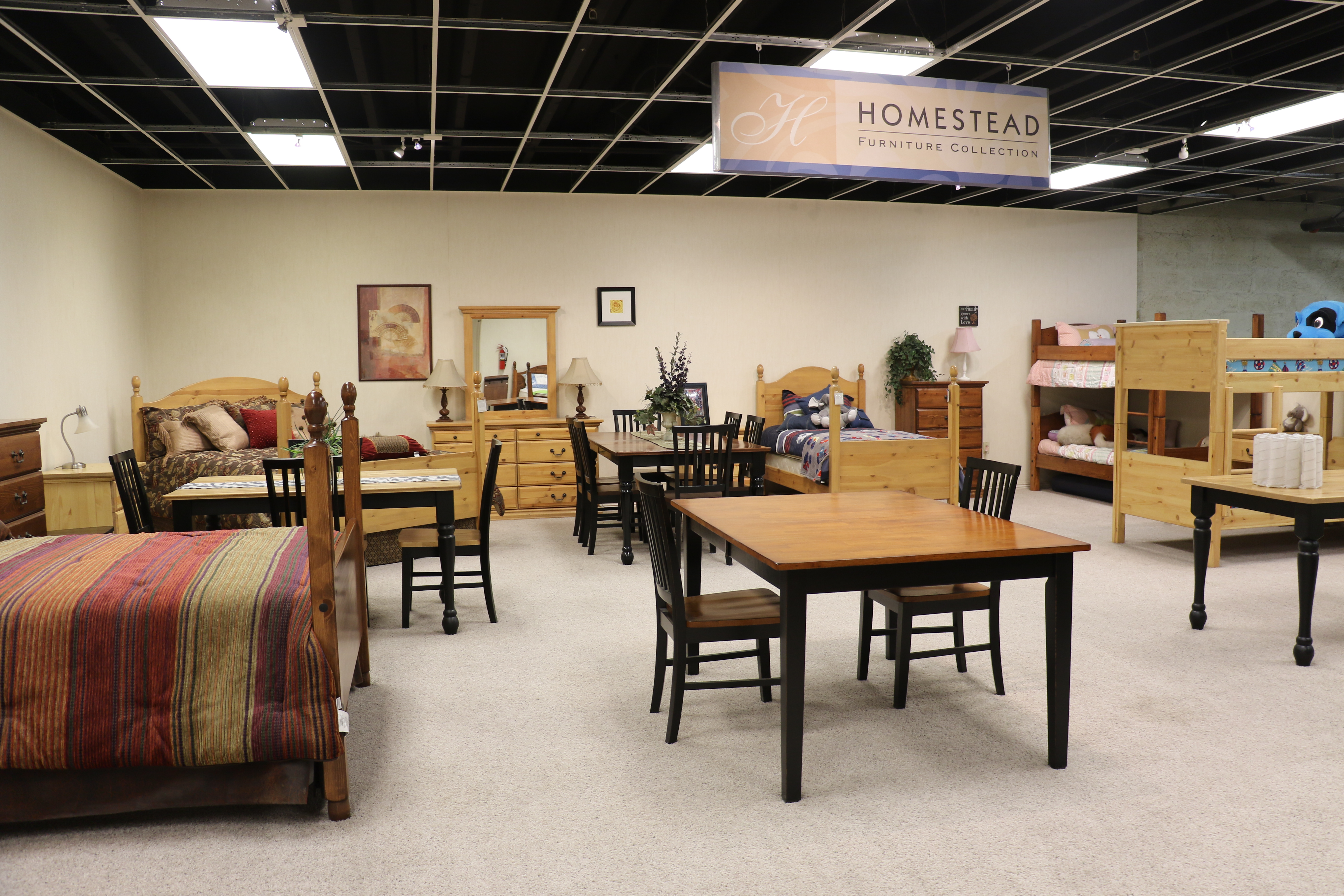 A showroom in the Deseret Manufacturing facility in Salt Lake City, Utah, displays furniture available through the Deseret Industries.