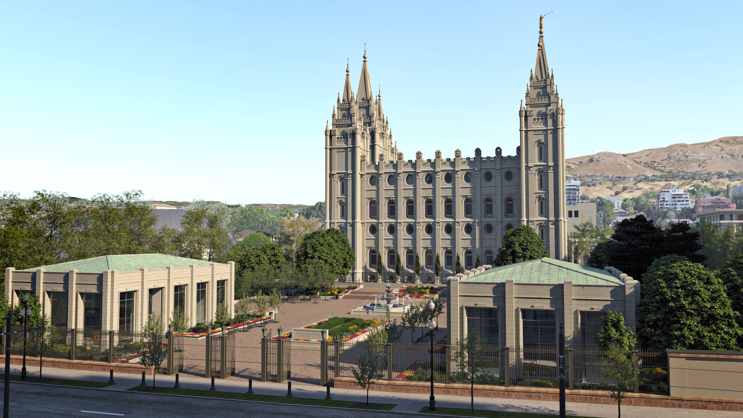 Rendering of the Salt Lake Temple's south side.