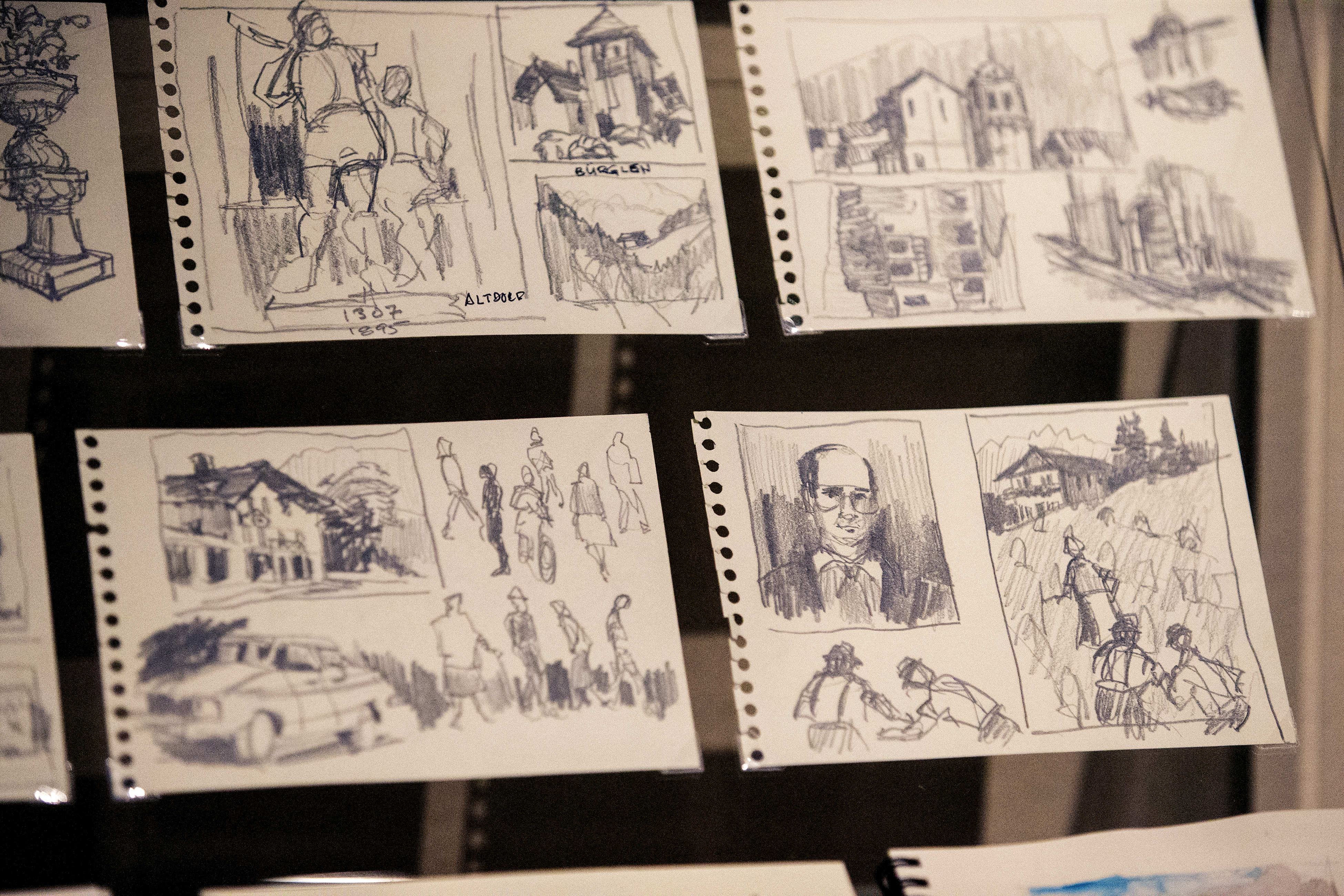 Sketches by President Henry B. Eyring are part of the many different pieces of his art on display in a special exhibit at the Church History Museum in Salt Lake City.