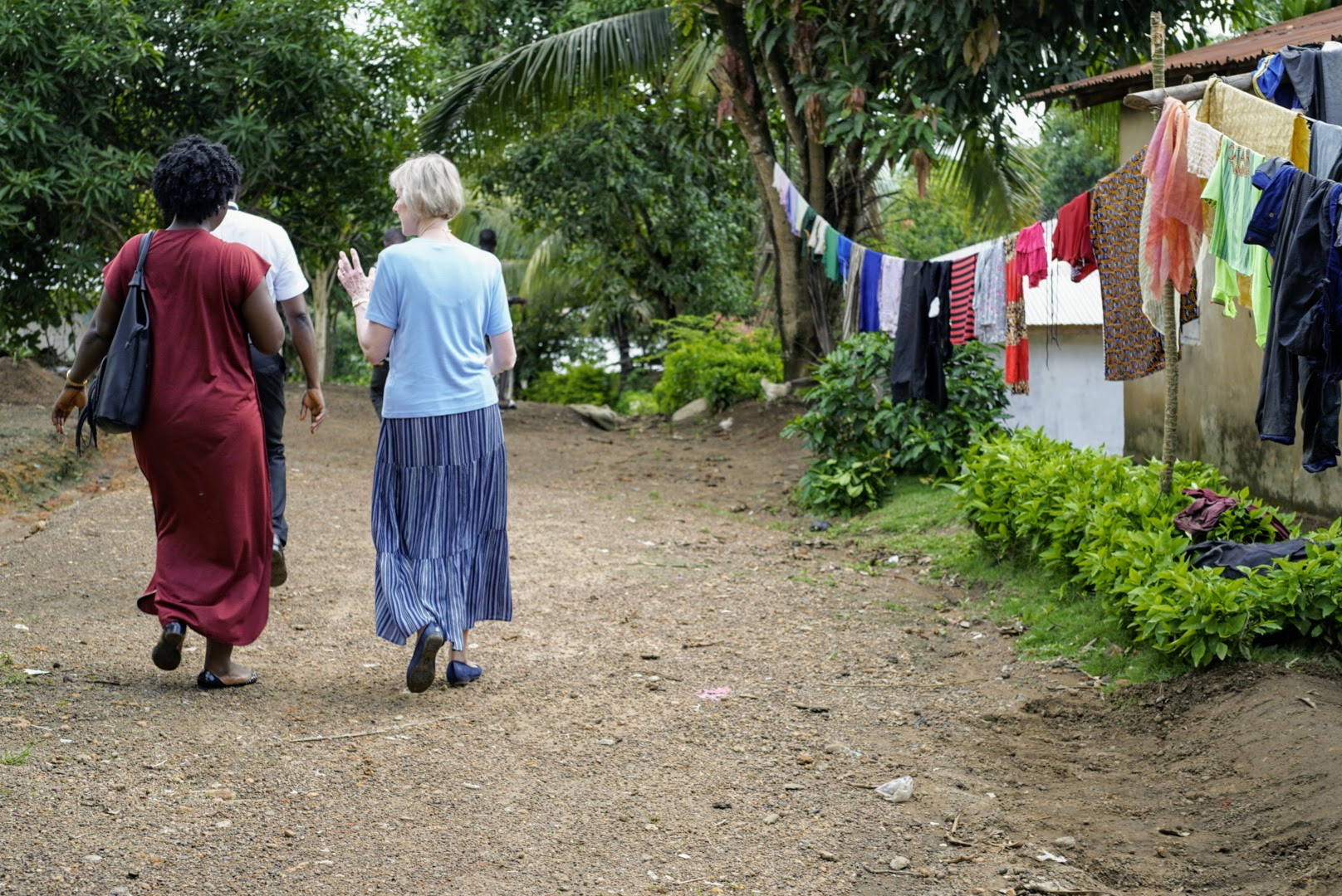 Sister Jean B. Bingham walks with another member in Sierra Leone during a recent 11-day trip from June 5 through June 16, 2019, to the West African country.
