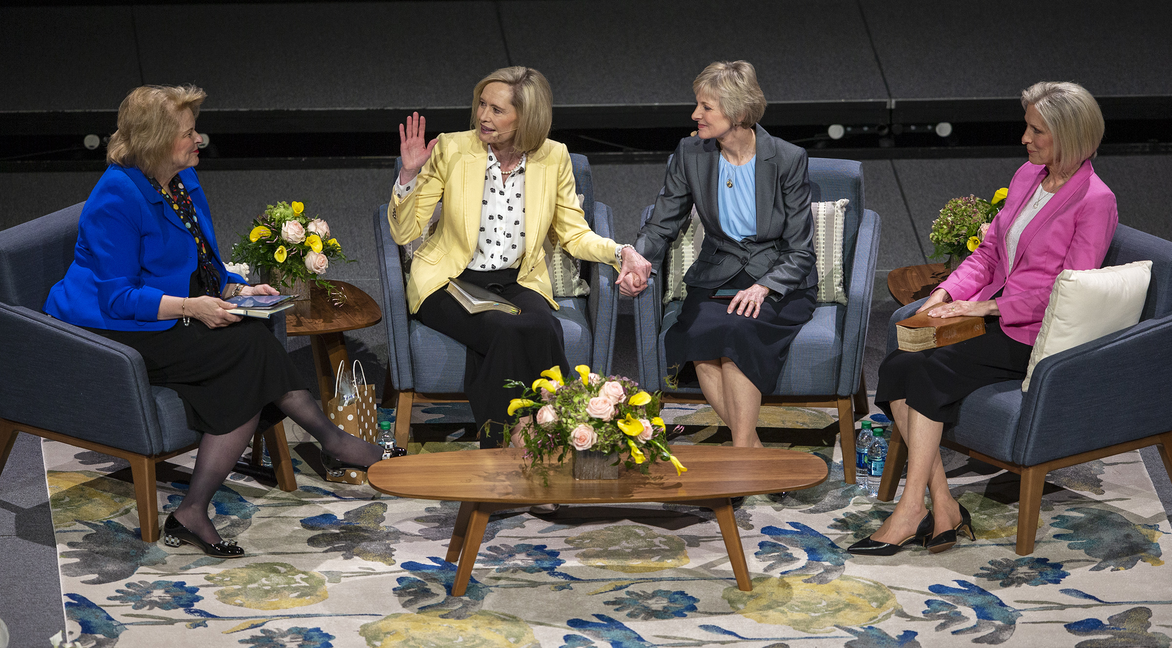 "Moderator Sister Sheri Dew joins Sister Bonnie H. Cordon, Young Women general president; Sister Jean B. Bingham, Relief Society general president, and Sister Joy D. Jones, Primary general president, at a ""Sister to Sister"" event at Women's Conference at BYU's Marriott Center in Provo, Utah, on Friday, May 3, 2019."