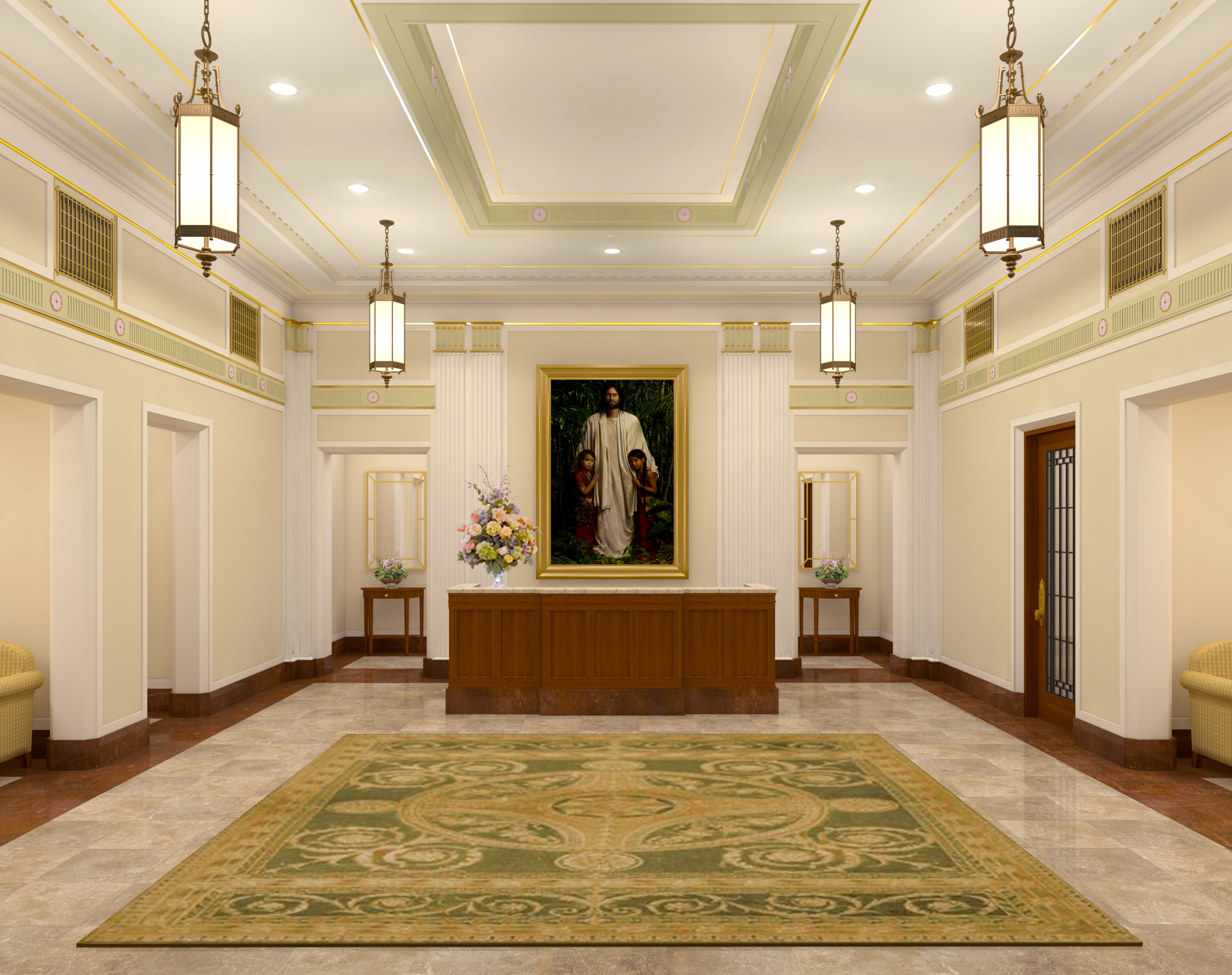 Rendering of the entry into the Mesa Arizona Temple.