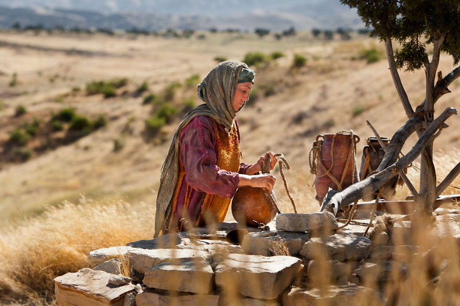 An image from the Church's Bible video series depicts Jesus and the Samaritan woman at the well.