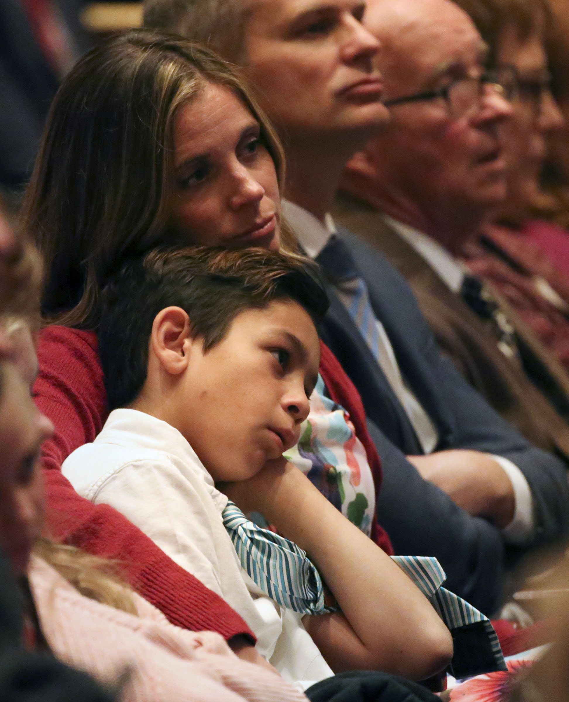 Conferencegoers listen to a speaker during the Sunday afternoon session of the 188th Semiannual General Conference of The Church of Jesus Christ of Latter-day Saints in the Conference Center in downtown Salt Lake City on Sunday, Oct. 7, 2018.