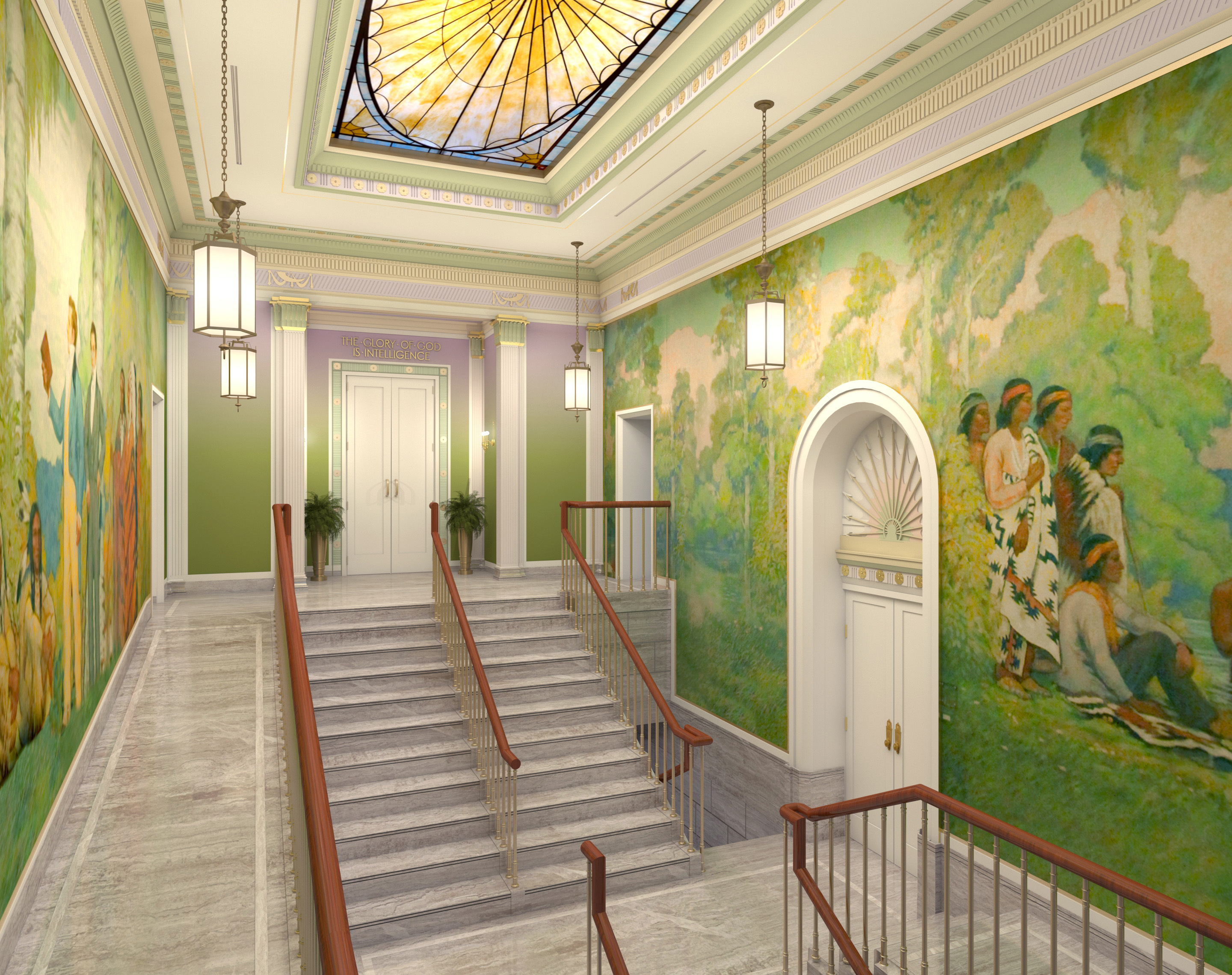 Rendering of the grand staircase in the Mesa Arizona Temple.