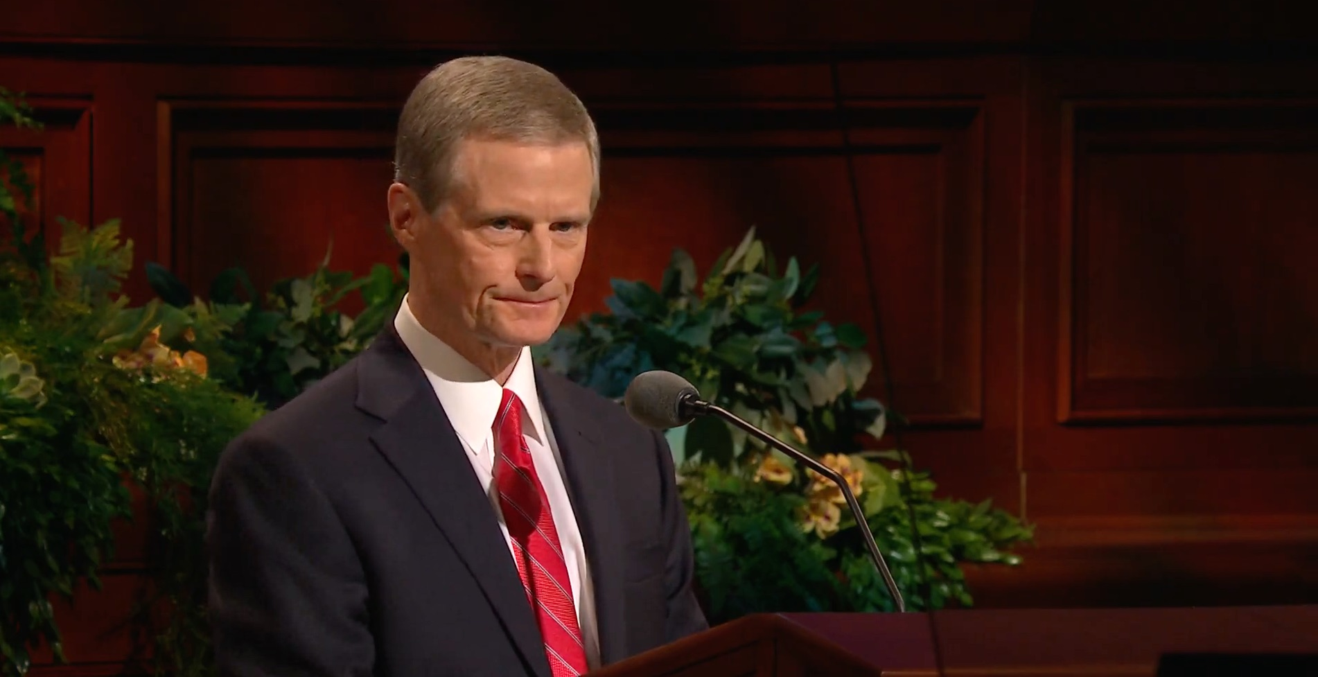 Elder David A. Bednar of the Quorum of the Twelve Apostles gives his address during the Sunday afternoon session of the 189th Annual General Conference on April 7, 2019.