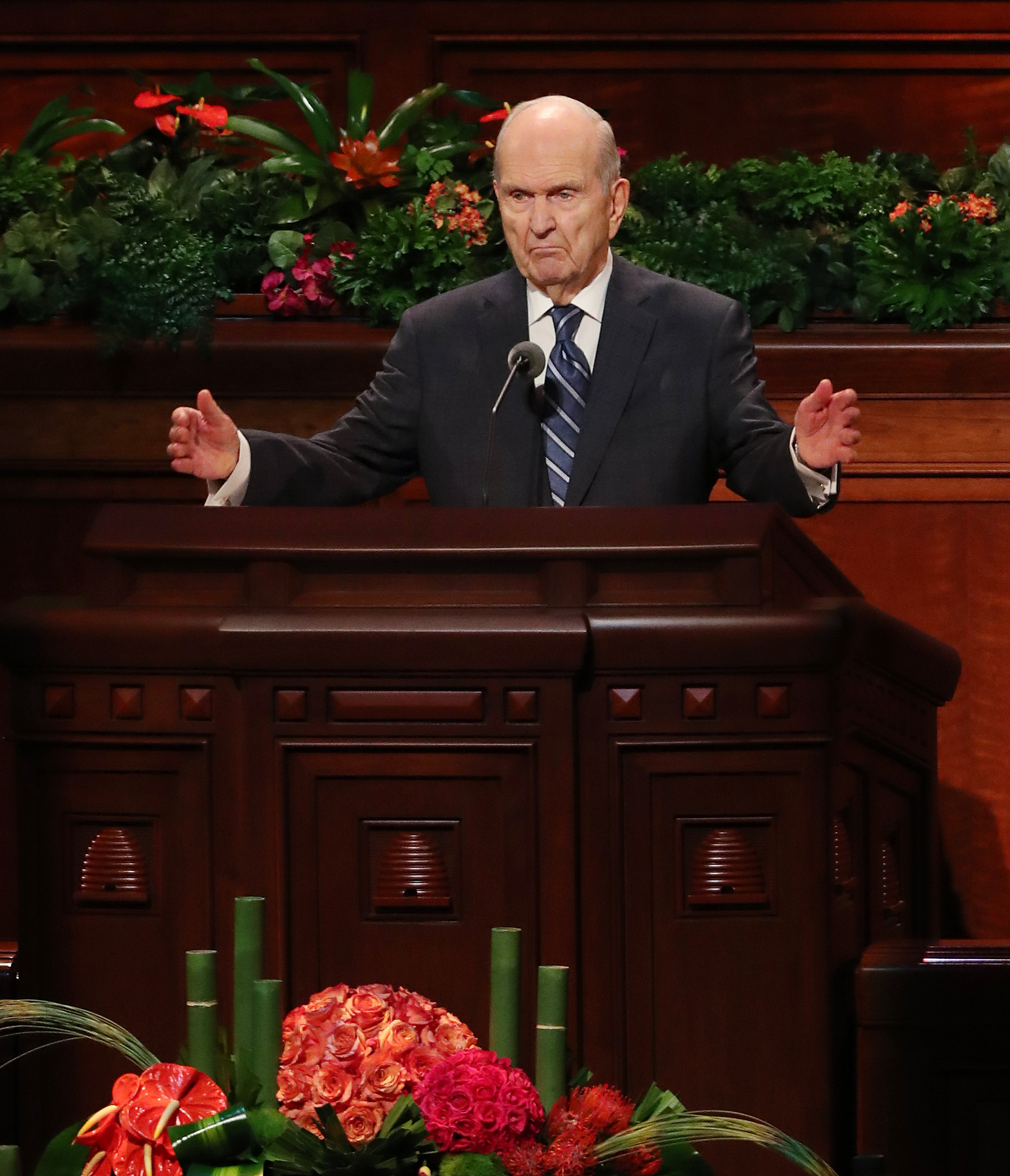 President Russell M. Nelson of The Church of Jesus Christ of Latter-day Saints speaks during the 188th Semiannual General Conference of The Church of Jesus Christ of Latter-day Saints in Salt Lake City on Sunday, Oct. 7, 2018.