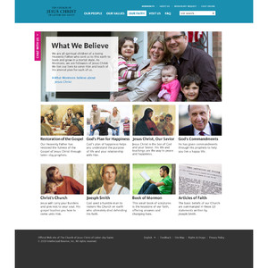 """Image of the """"What We Believe"""" page of the new Mormon.org web site."""