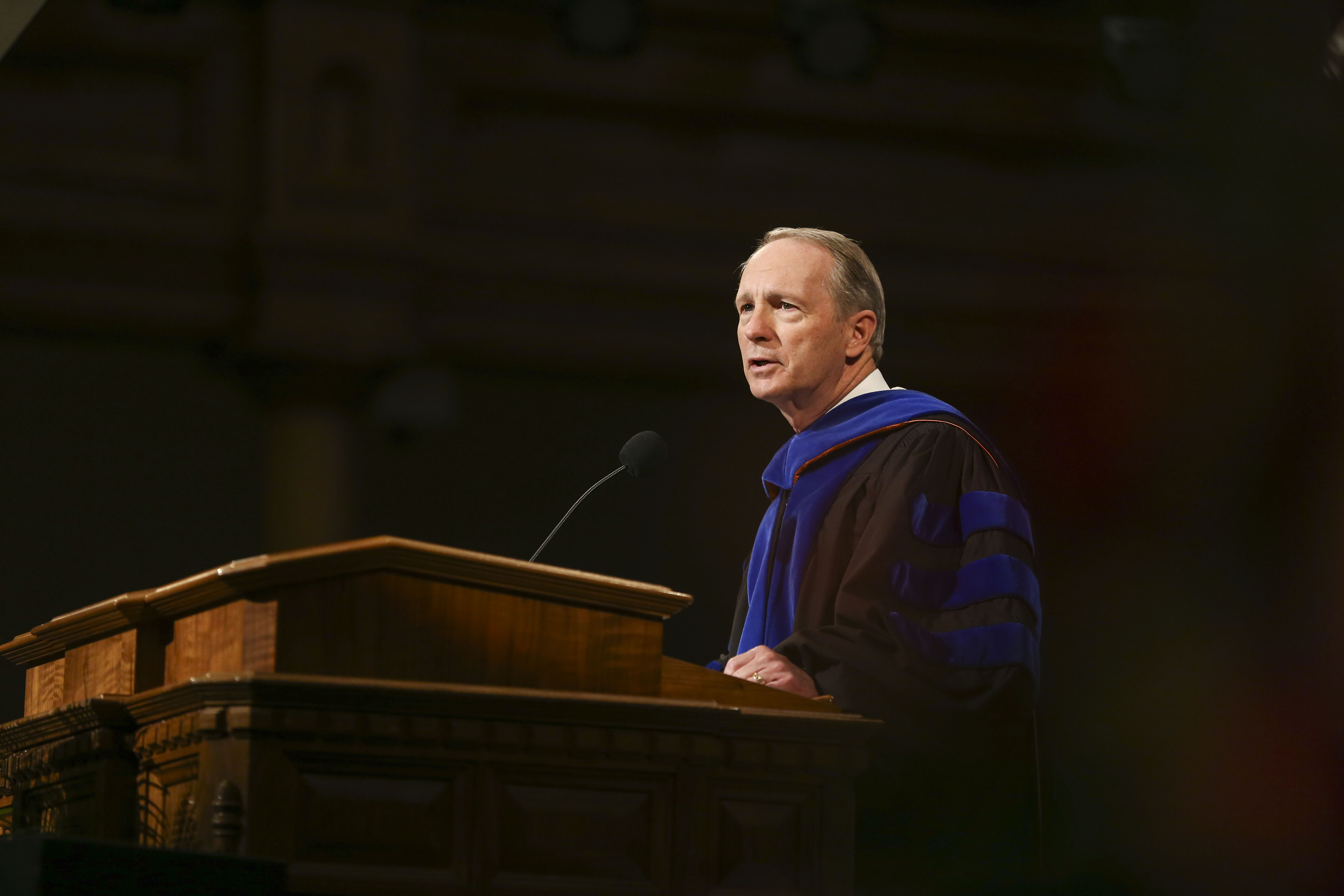 President Bruce C. Kusch speaks during the commencement ceremony for LDS Business College at the Tabernacle on Temple Square in Salt Lake City on Friday, April 12, 2019.