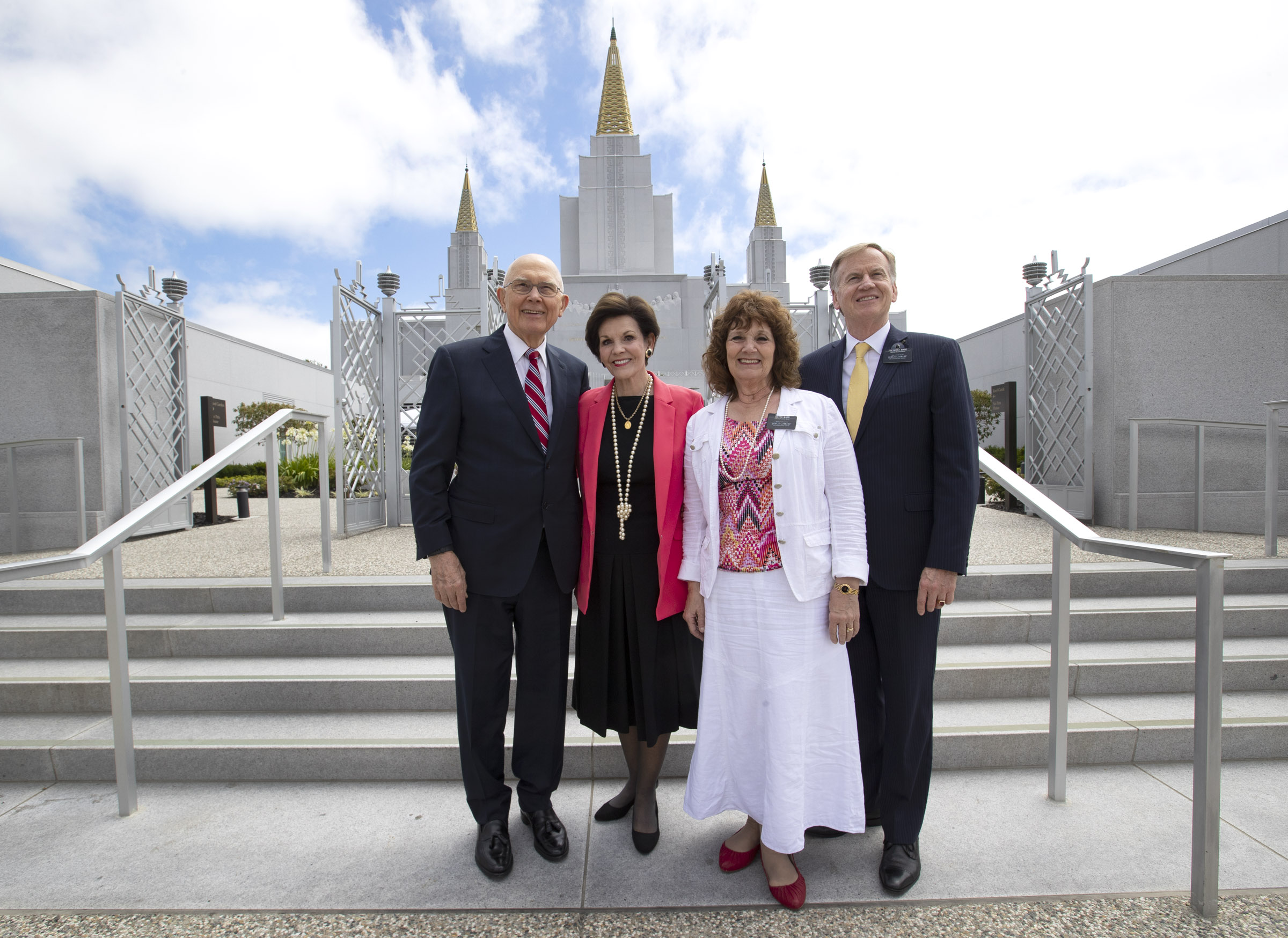 President Dallin H. Oaks, first counselor in the First Presidency, and his wife, Sister Kristen Oaks stand with Sister Sharmon O. Ward, Presidents Oaks' oldest daughter, and her husband, President Jack D. Ward, President of the California Roseville Mission, outside the Oakland California Temple on Saturday, June 15, 2019.
