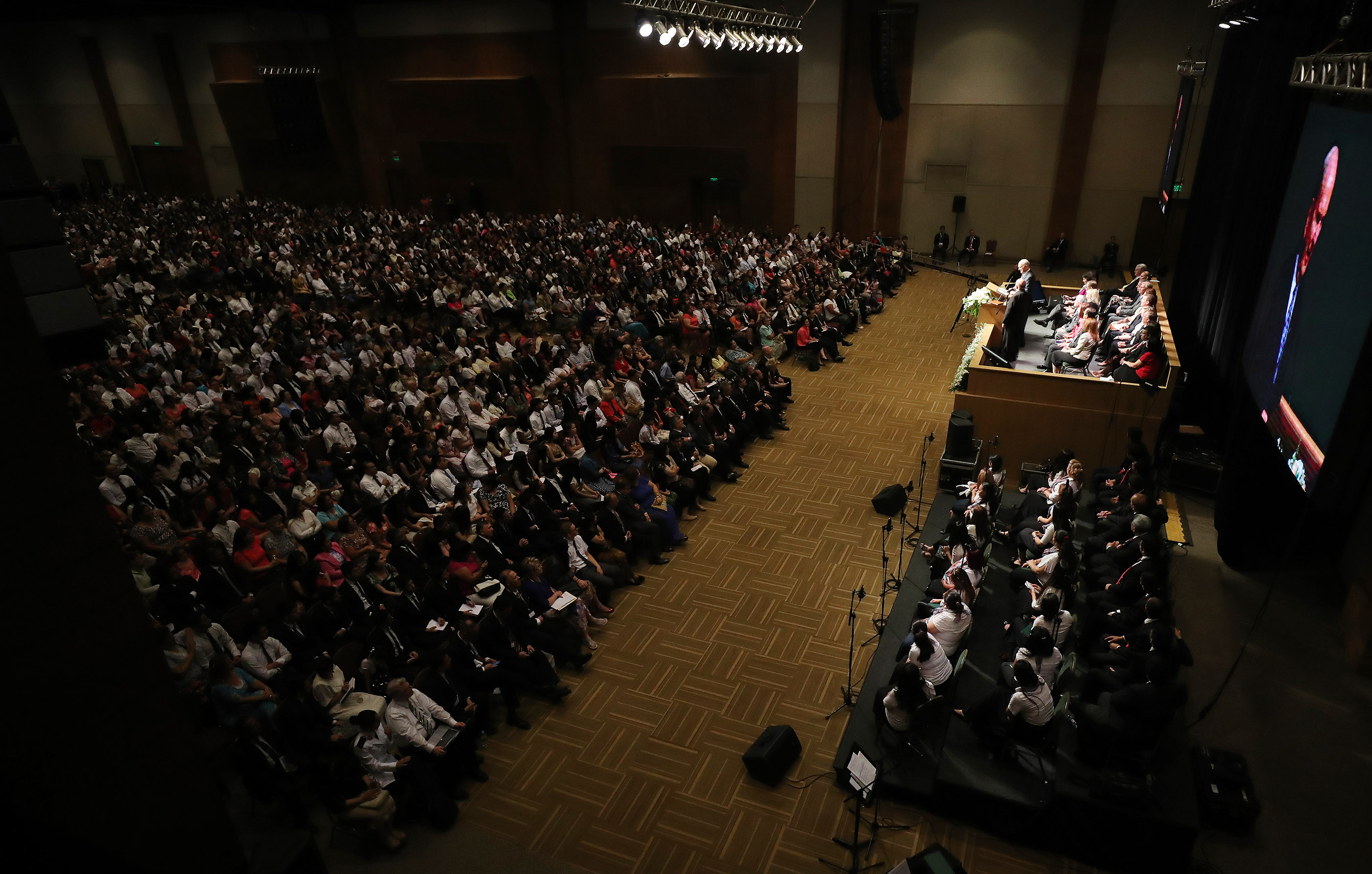 President Russell M. Nelson of The Church of Jesus Christ of Latter-day Saints speaks during a devotional in Asuncion, Paraguay, on Monday, Oct. 22, 2018.