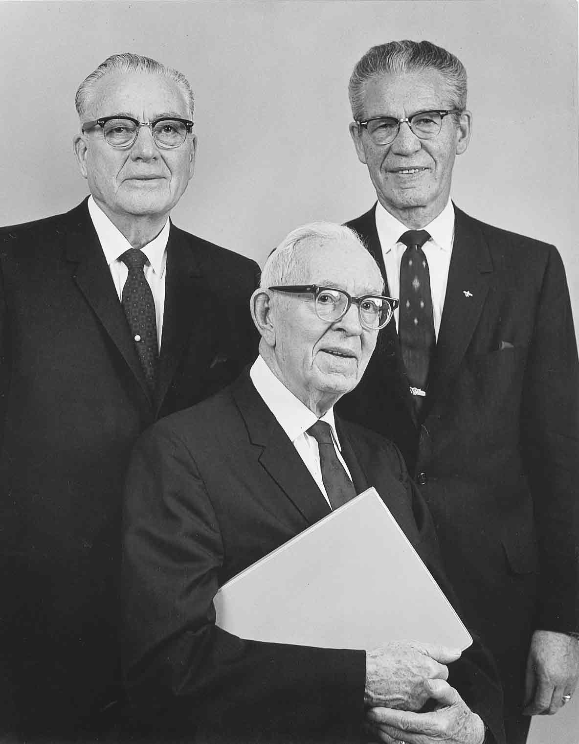 First Presidency in 1970. Left to right Harold B. Lee, Joseph Fielding Smith and N. Eldon Tanner.