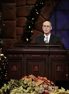 President Henry B. Eyring speaks during the annual First Presidency Devotional in the Conference Center Sunday, Dec. 6, 2009.