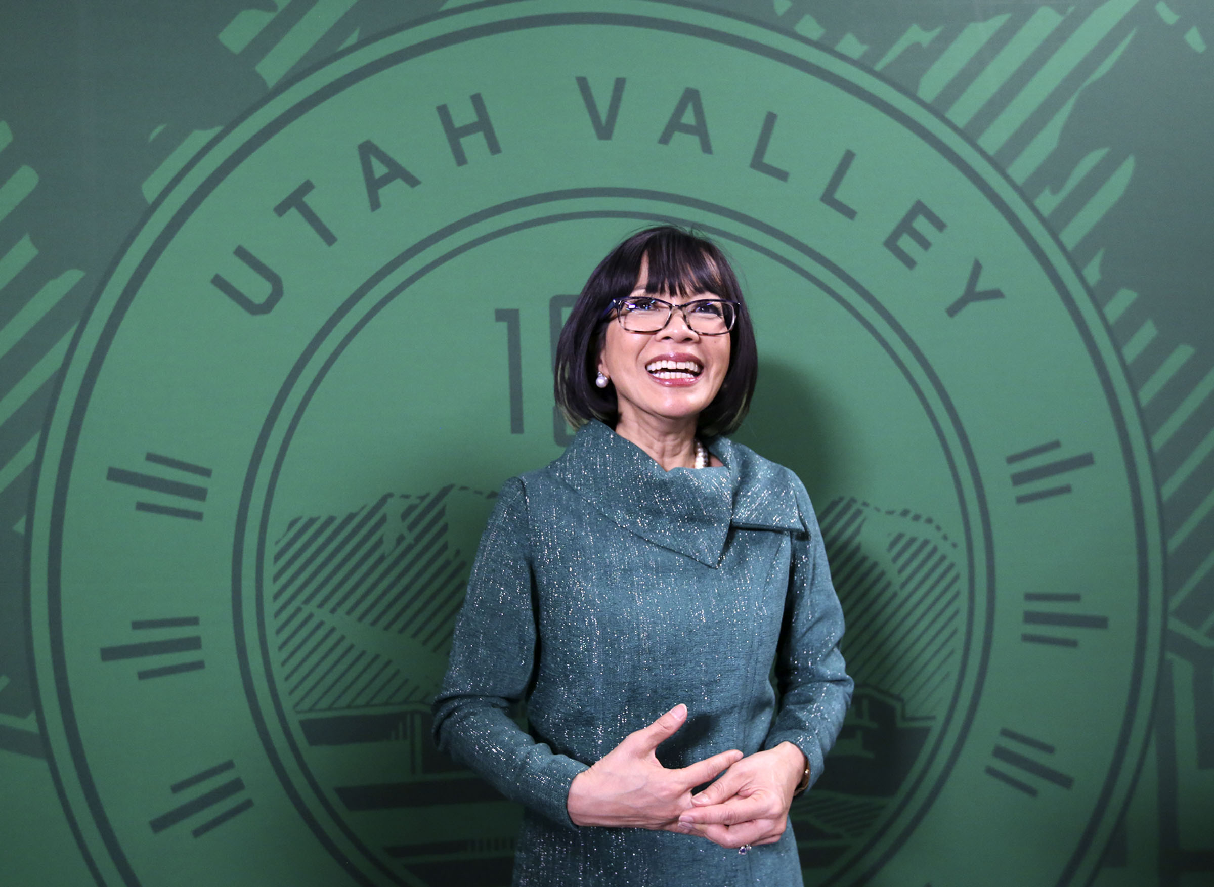 Astrid S. Tuminez, Utah Valley University's seventh president, talks to the media after her inauguration ceremony at the UVU Noorda Center for the Performing Arts in Orem on Wednesday, March 27, 2019.