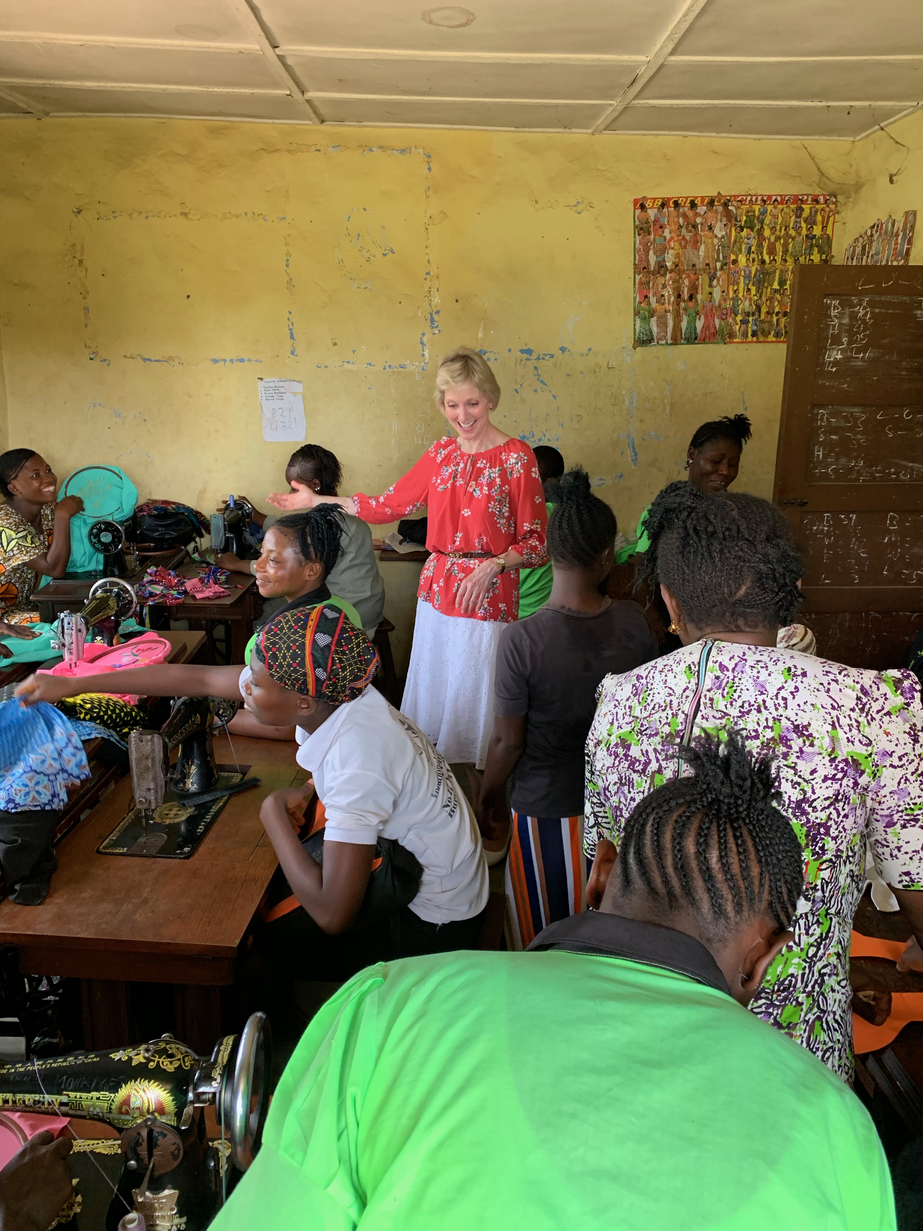 Sister Jean B. Bingham visits with members in Sierra Leone while visiting to observe the implementation of the Gospel Literacy program. Sister Bingham, Relief Society general president, visited the West African country June 5 through June 16, 2019.