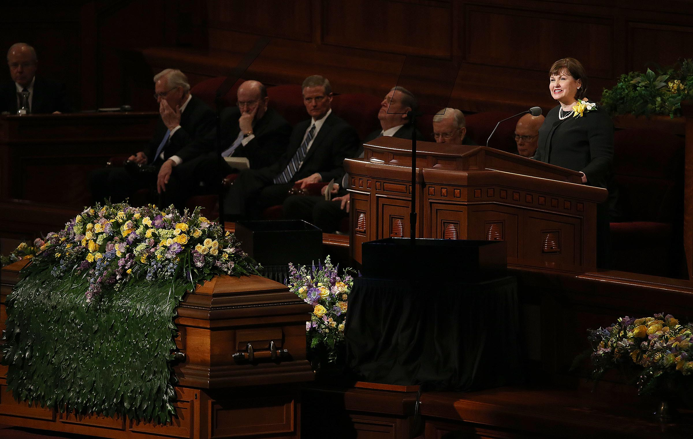Sister Ann M. Dibb, daughter of Church President Thomas S. Monson, speaks at his funeral at the Conference Center in Salt Lake City on Friday, Jan. 12, 2018.