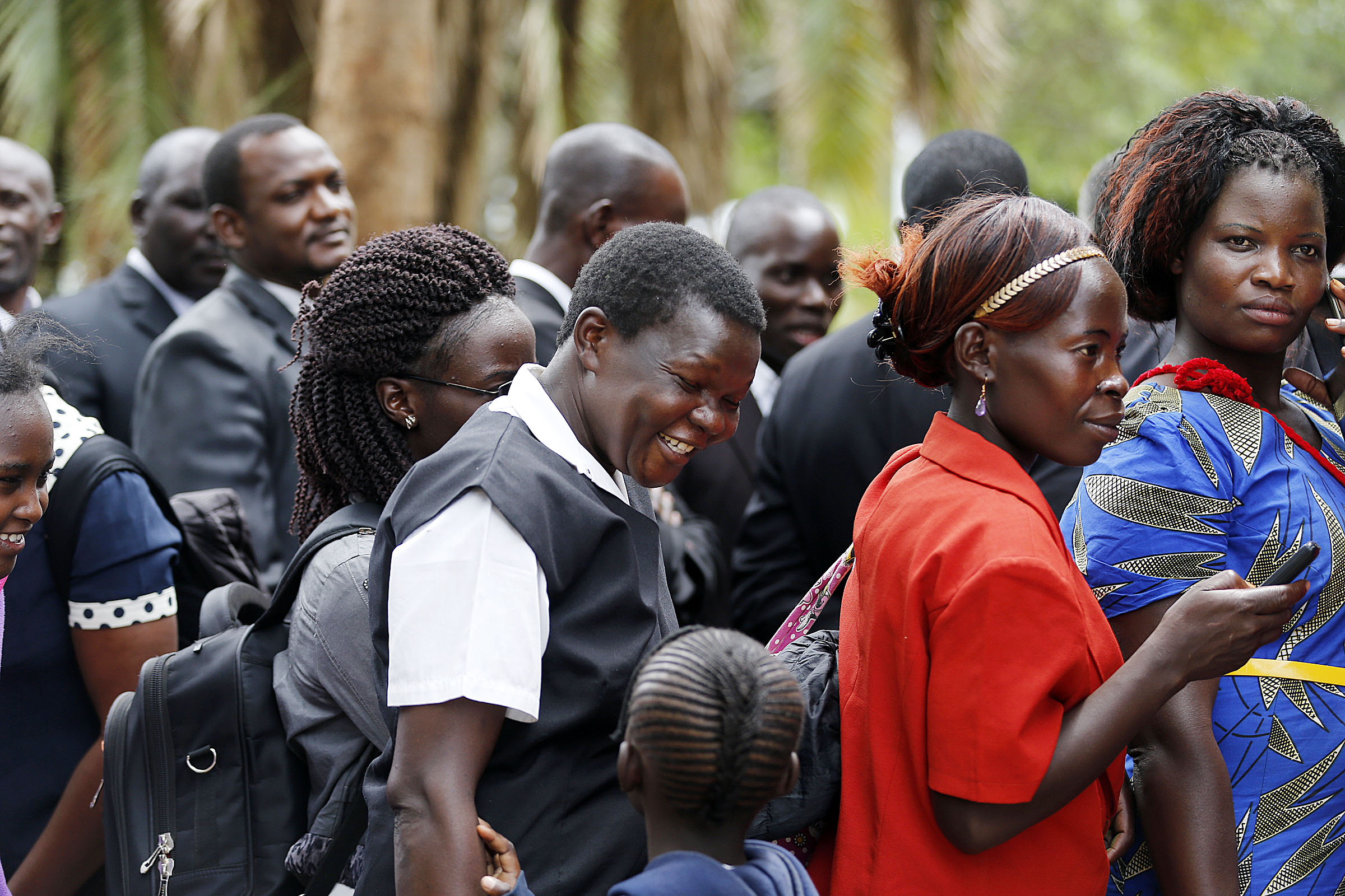 People line up to attend a special devotional with President Russell M. Nelson in Nairobi, Kenya, on Monday, April 16, 2018.