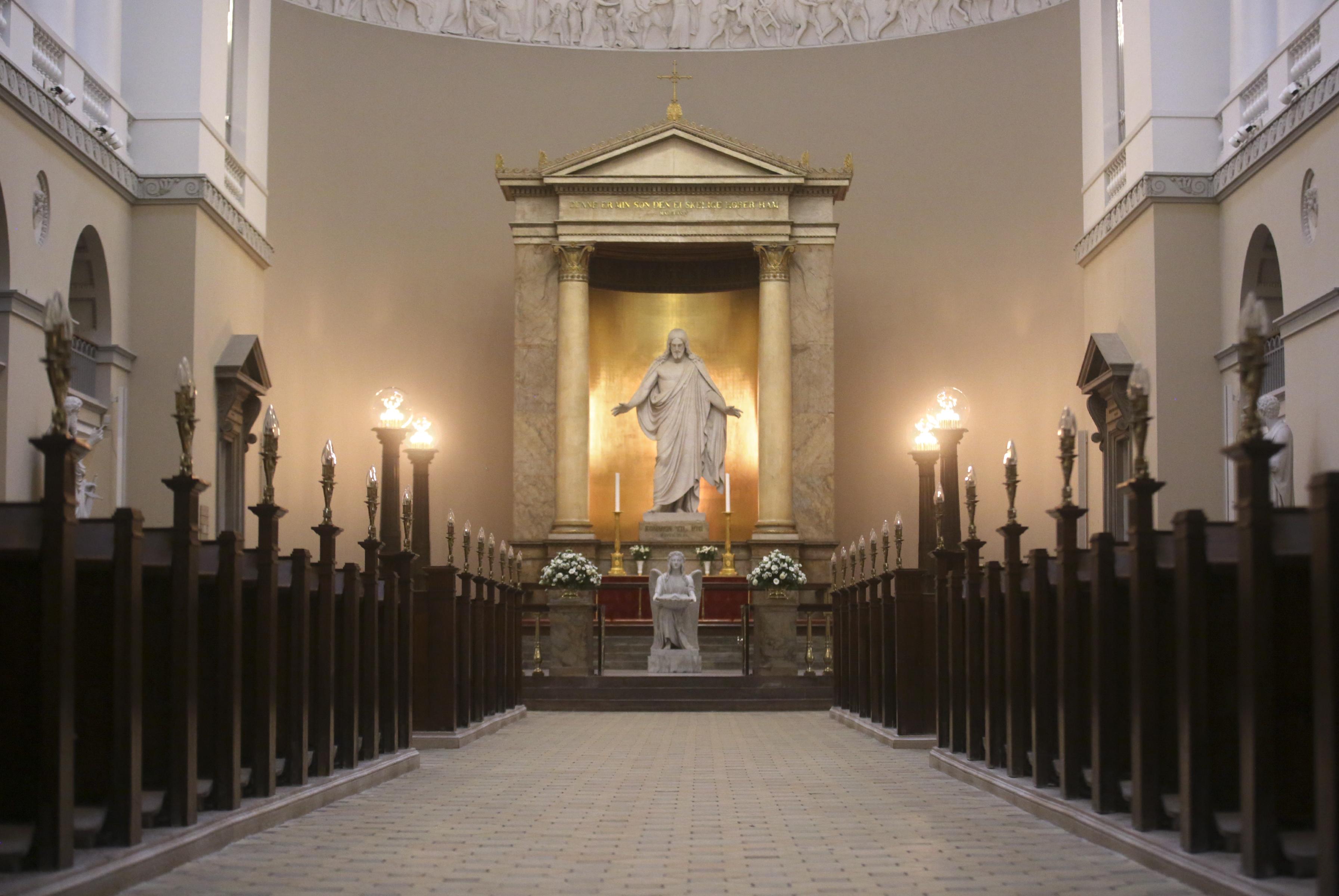 Bertel Thorvaldsen's Christus statue is the focal point of the Church of Our Lady in Copenhagen, Denmark, on Tuesday, Nov. 13, 2018.