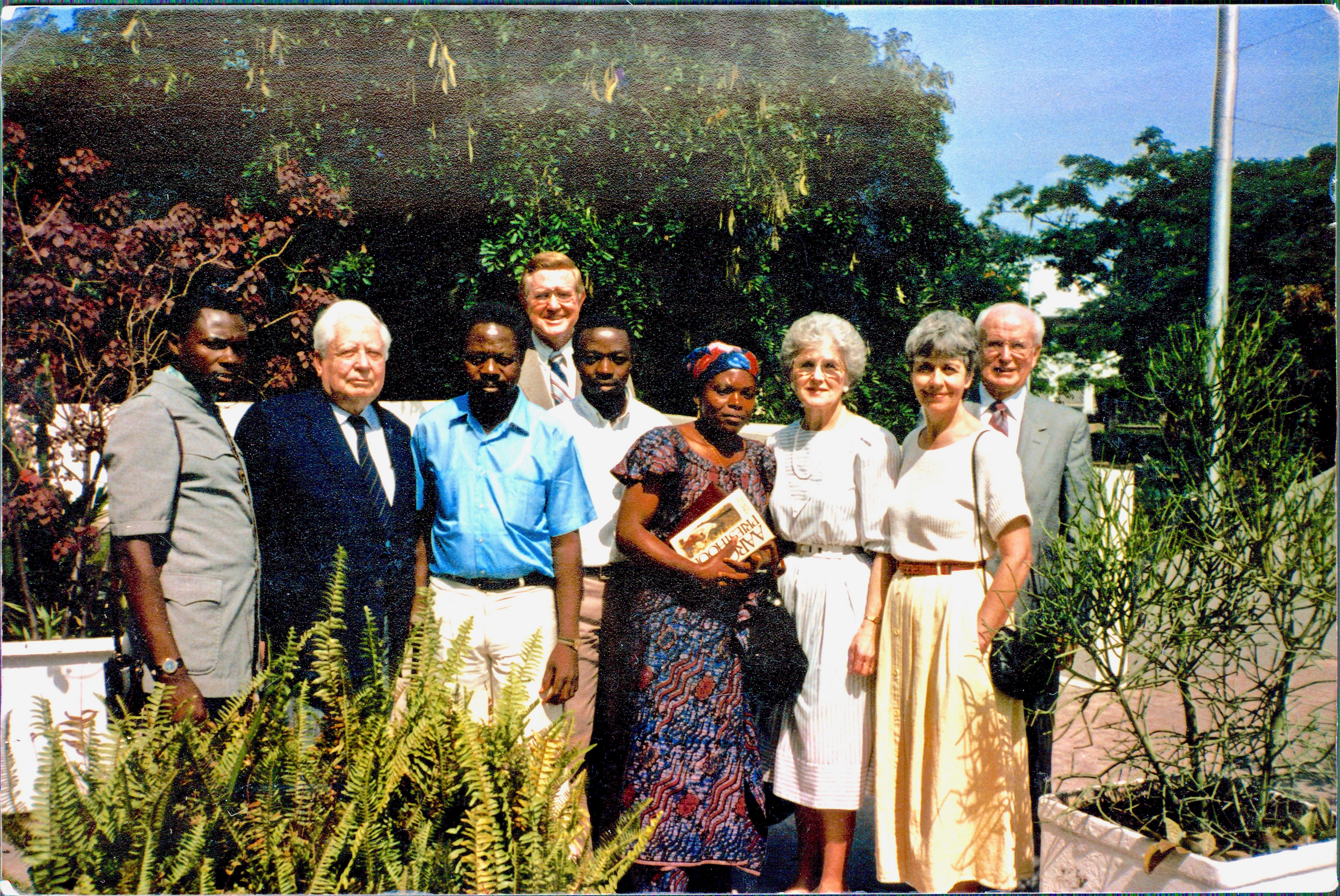 David M. Kennedy, second from left, a special representative of the First Presidency, and Oscar W. McConkie Jr., fourth from the left and in the back, legal counsel for the Church, were key in helping get official recognition in 1986 for the Church in Zaire (now the Democratic Republic of the Congo). They are joined by, from left, a Mr. Minani of the Zaire intelligence office; Mucioko Banza, Mbuyi Nkitabungi, Régine Banza, Sister Jean Hutchings, Judith McConkie and Elder R. Bay Hutchings.